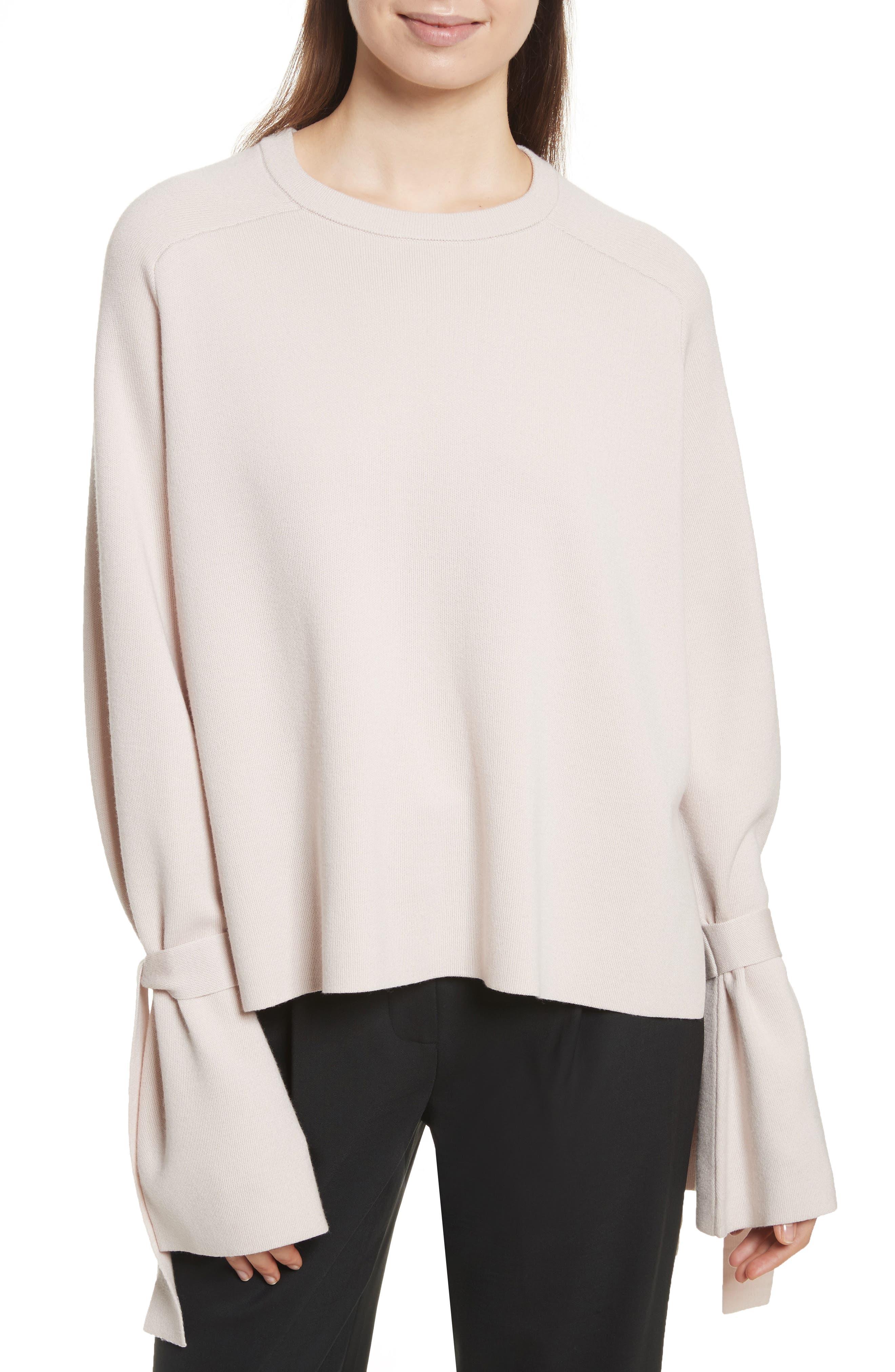 Merino Wool & Silk Bell Sleeve Pullover,                             Main thumbnail 2, color,