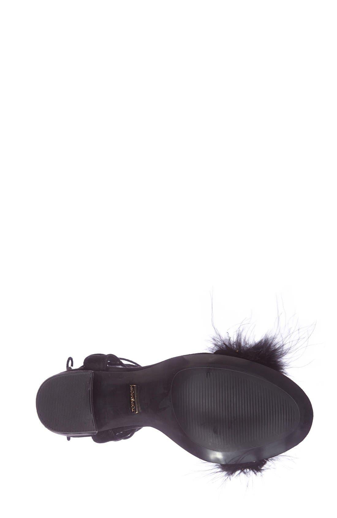 Marabou Feather Lace-Up Sandal,                             Alternate thumbnail 4, color,                             001