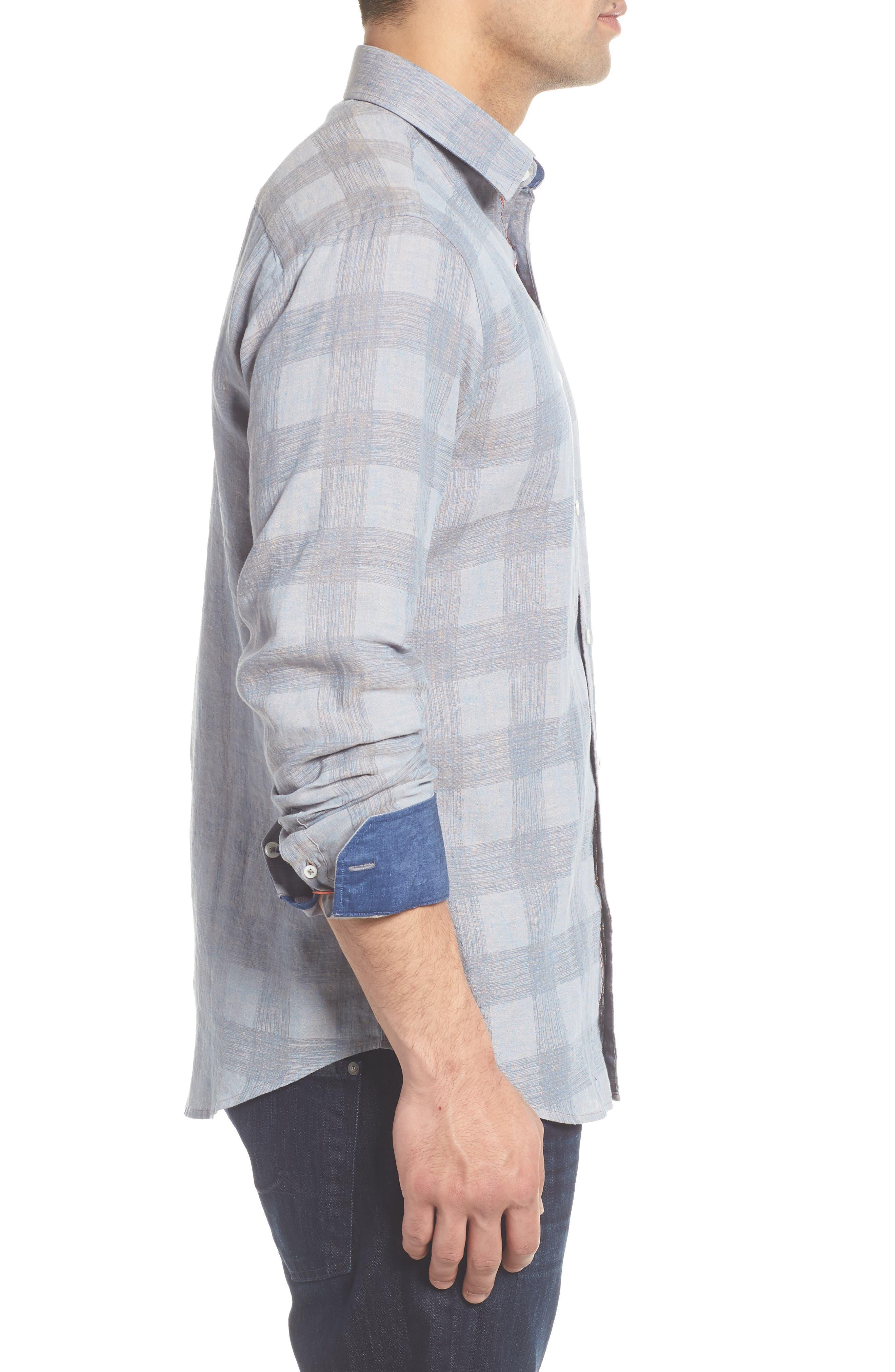 Shaped Fit Check Linen Blend Sport Shirt,                             Alternate thumbnail 3, color,                             STONE