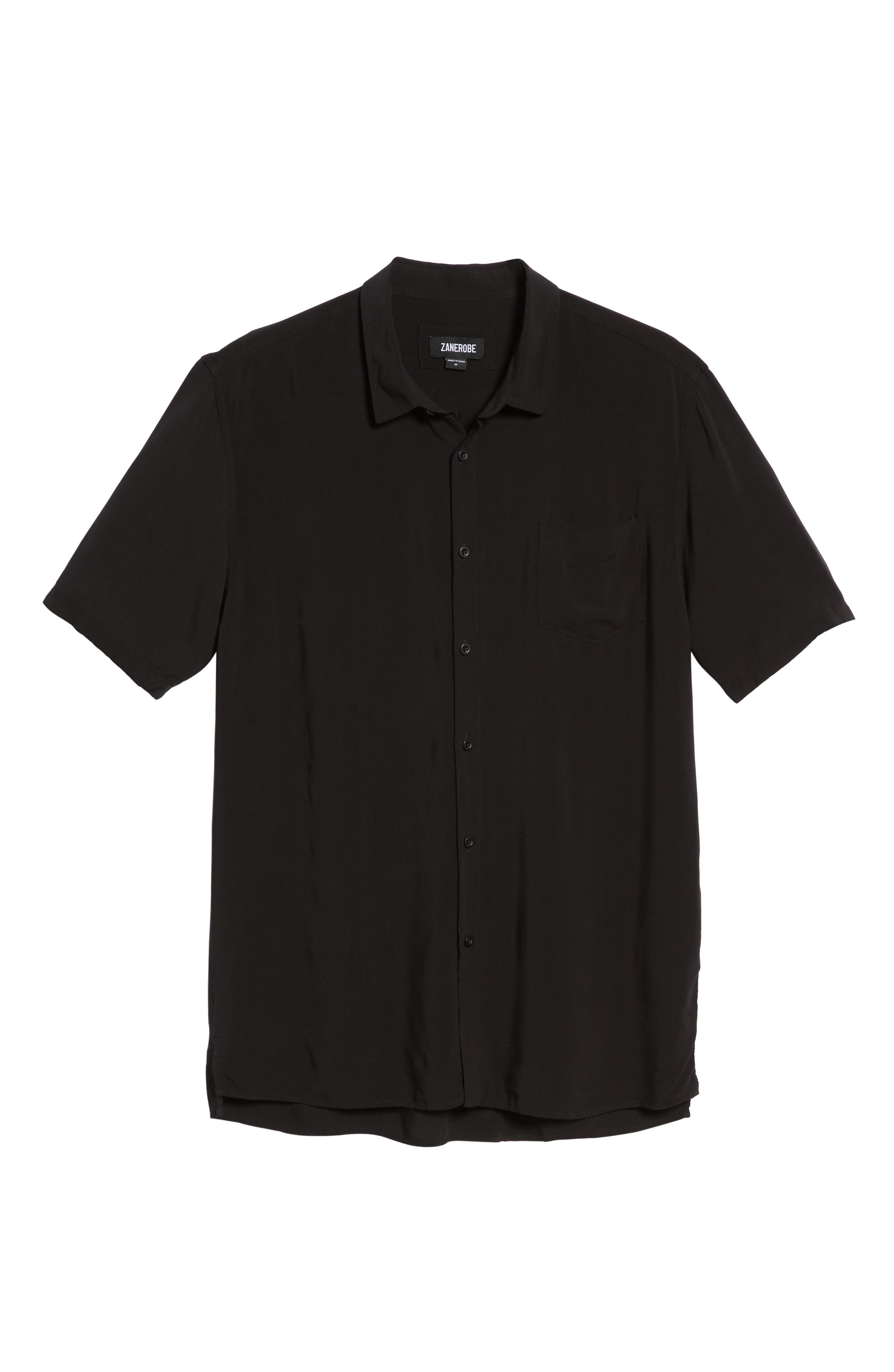 Solid Short Sleeve Shirt,                             Alternate thumbnail 5, color,                             BLACK