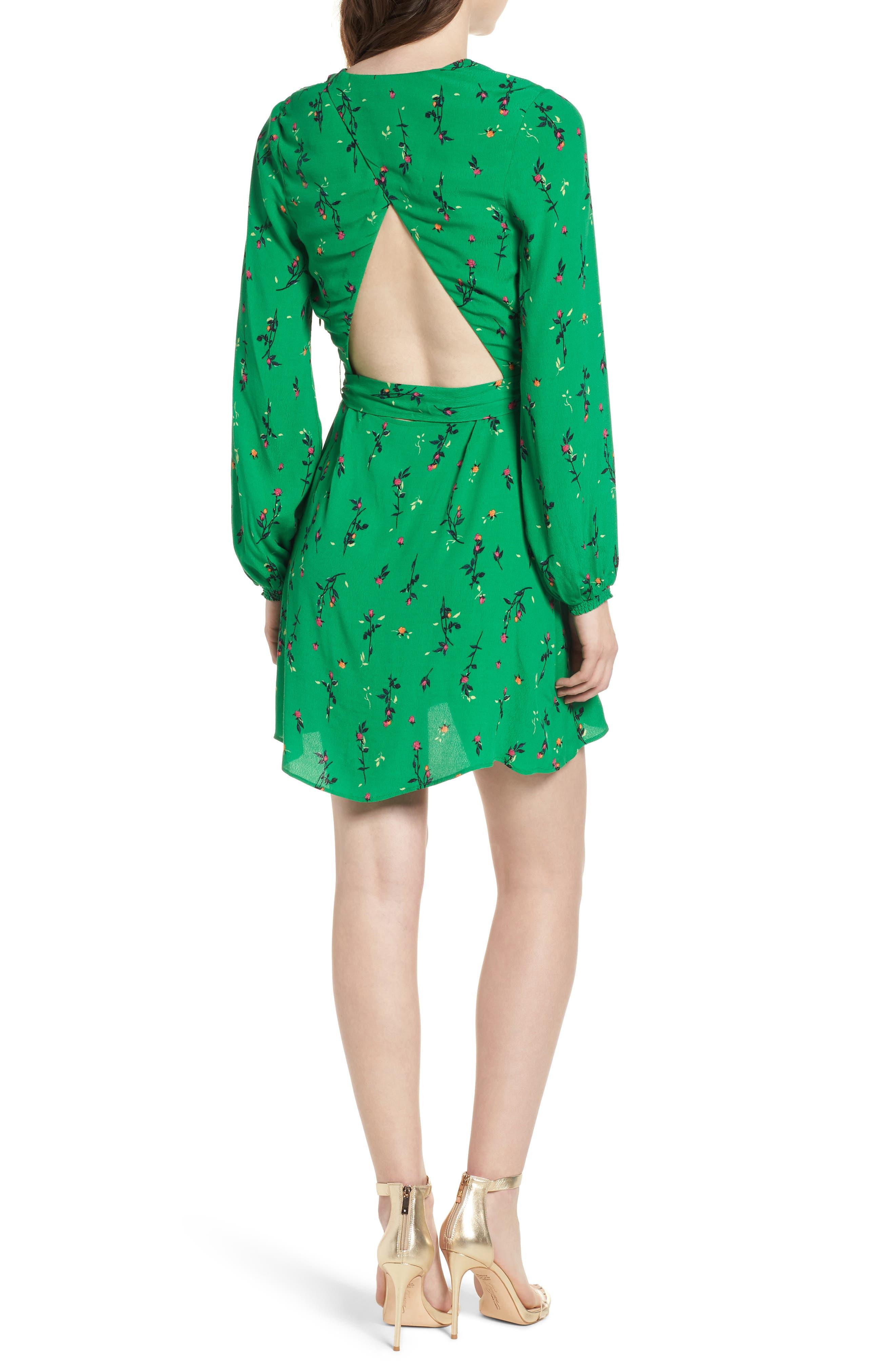 Piper Satin Open Back Dress,                             Alternate thumbnail 2, color,                             GREEN DITSY ROSE