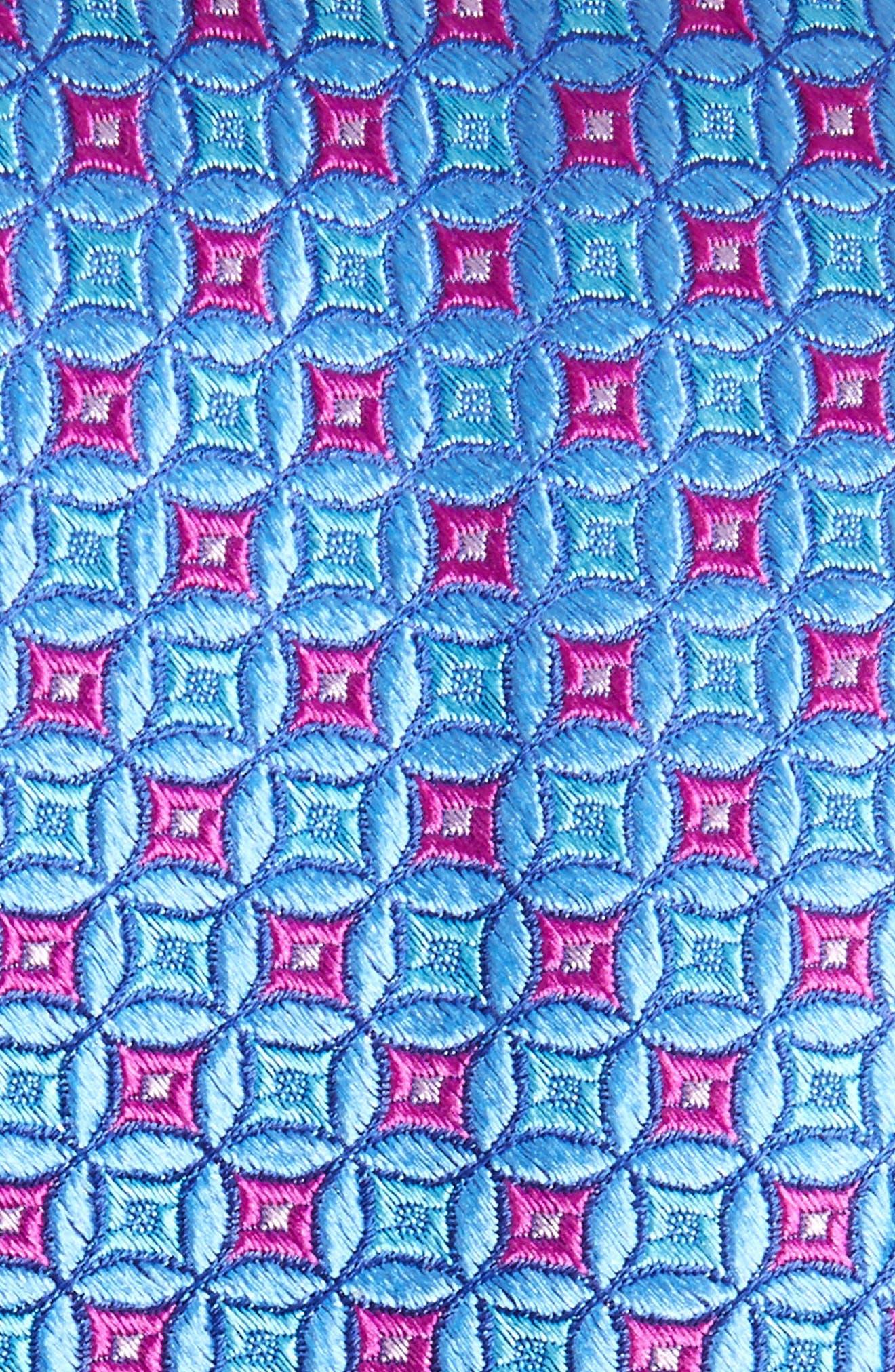Geometric Silk Tie,                             Alternate thumbnail 2, color,                             MEDIUM BLUE