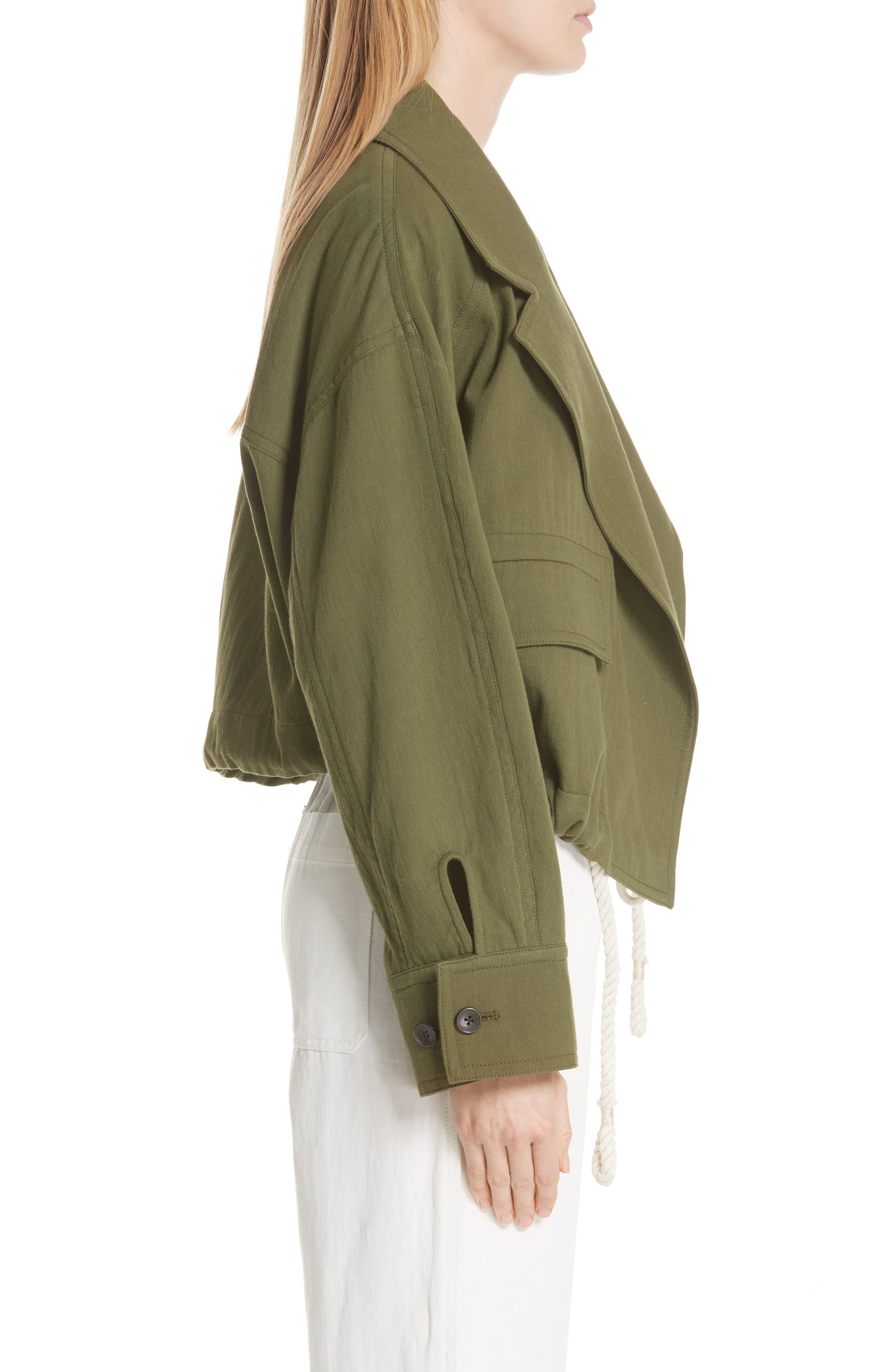 VINCE,                             Drawstring Crop Cotton Jacket,                             Alternate thumbnail 3, color,                             315