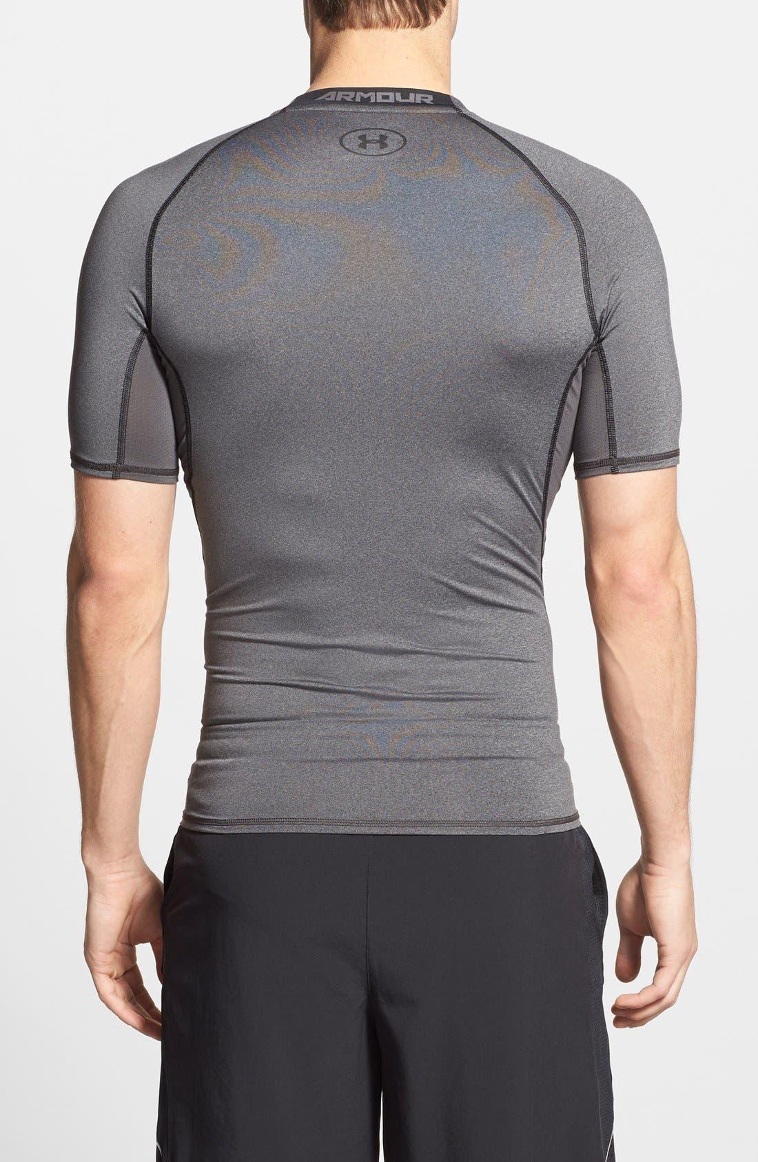 HeatGear<sup>®</sup> Compression Fit T-Shirt,                             Alternate thumbnail 8, color,                             CARBON HEATHER/ BLACK