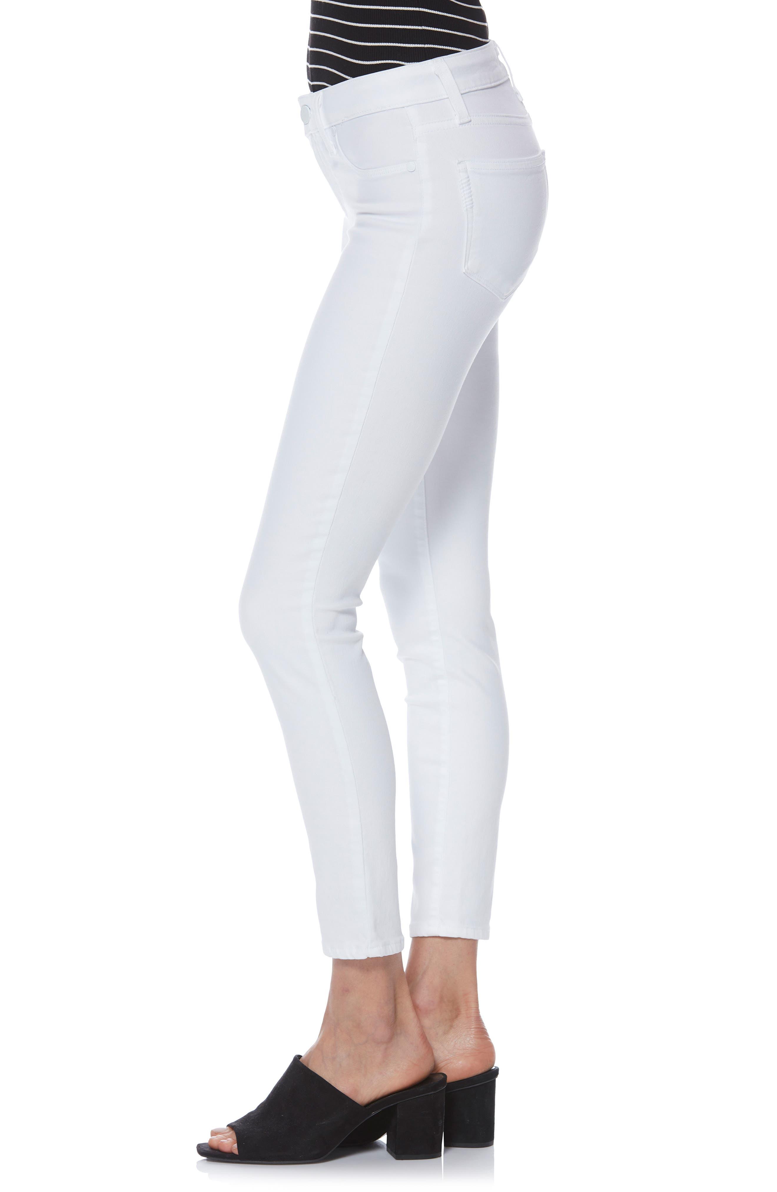 PAIGE,                             Verdugo Faux Pocket Crop Skinny Jeans,                             Alternate thumbnail 4, color,                             VIVID WHITE