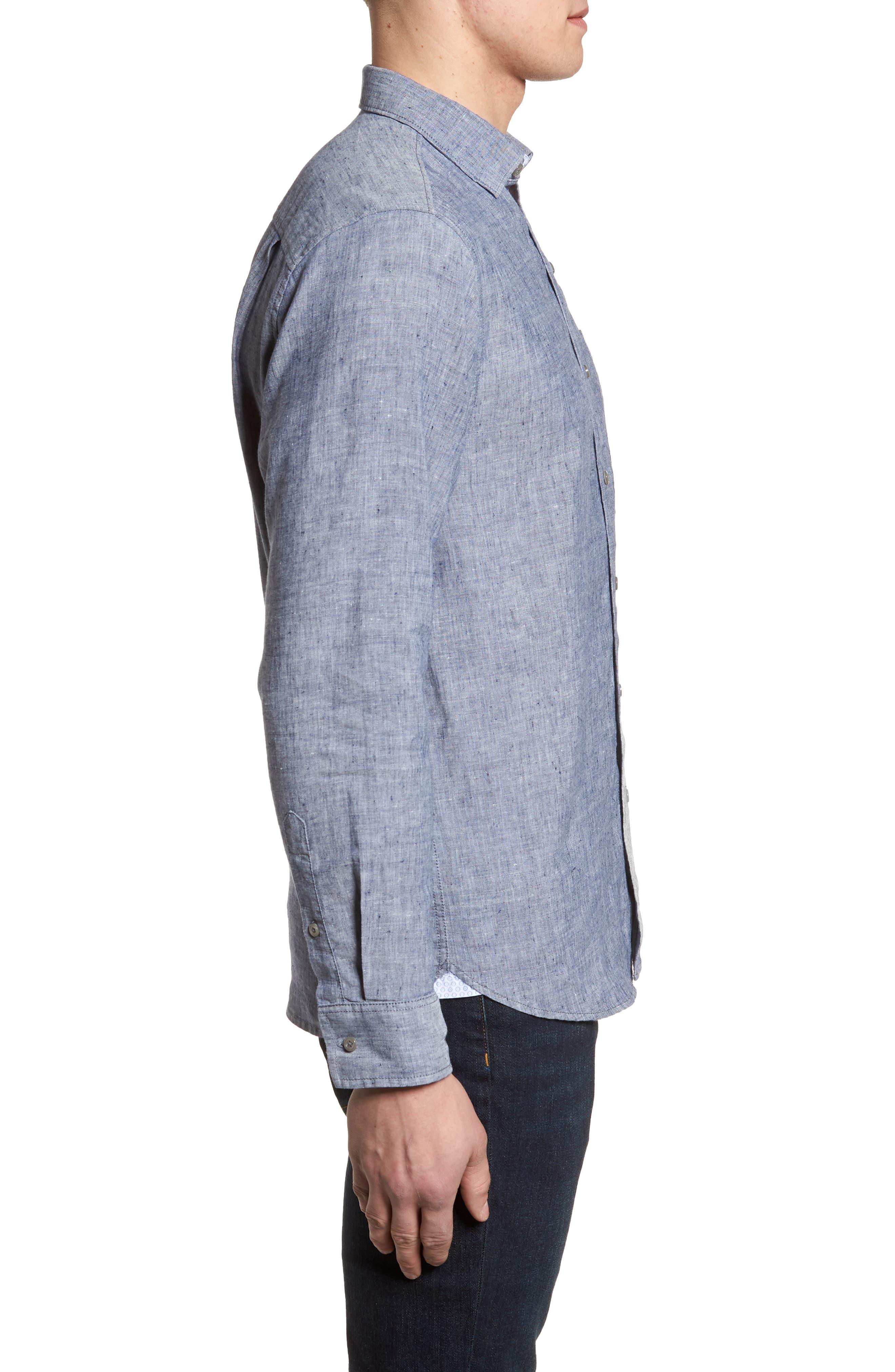 Lanai Tides Linen Blend Sport Shirt,                             Alternate thumbnail 6, color,