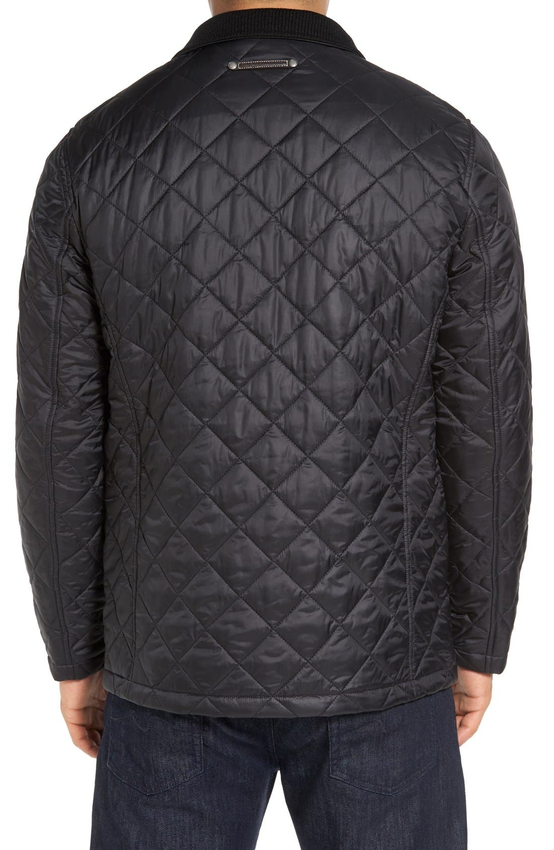Diamond Quilted Jacket,                             Alternate thumbnail 2, color,                             BLACK