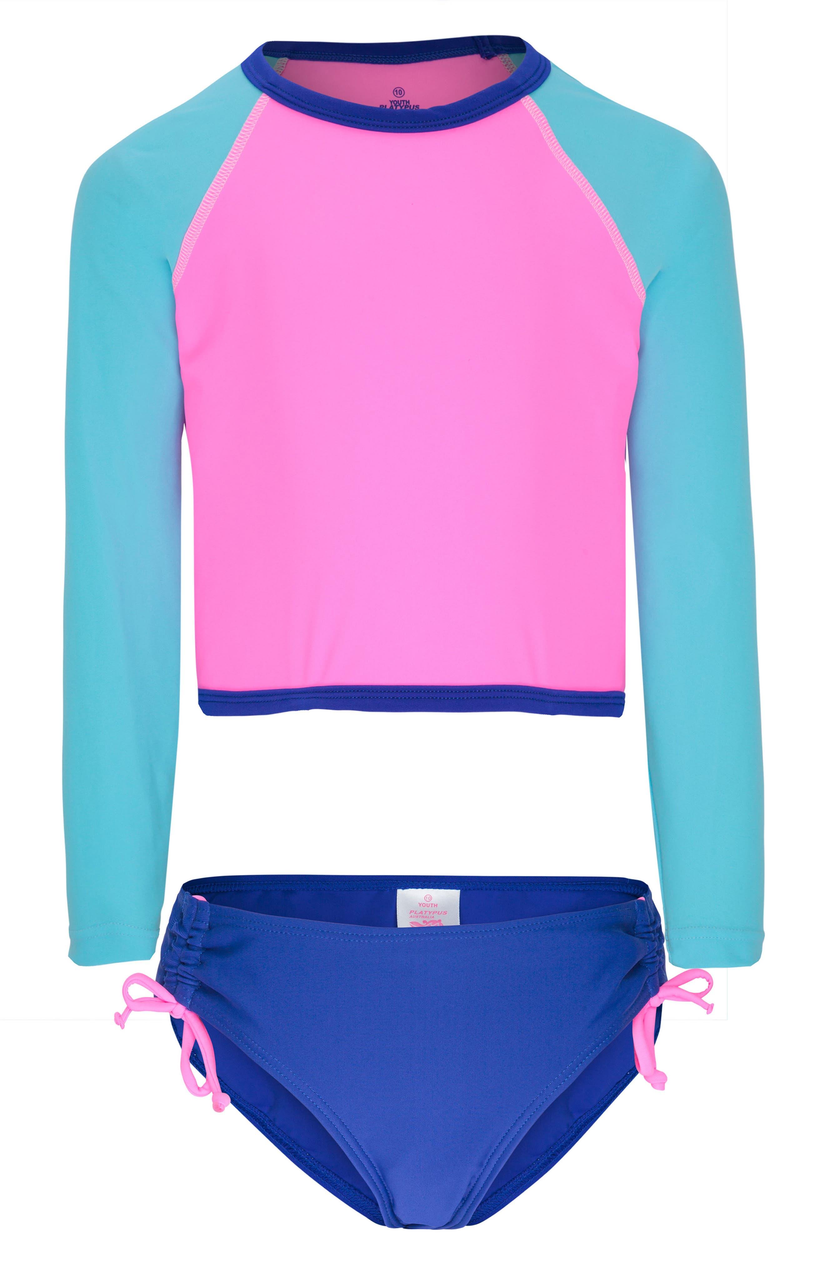 Girls Platypus Australia Colorblock TwoPiece Rashguard Swimsuit Size 8  Pink