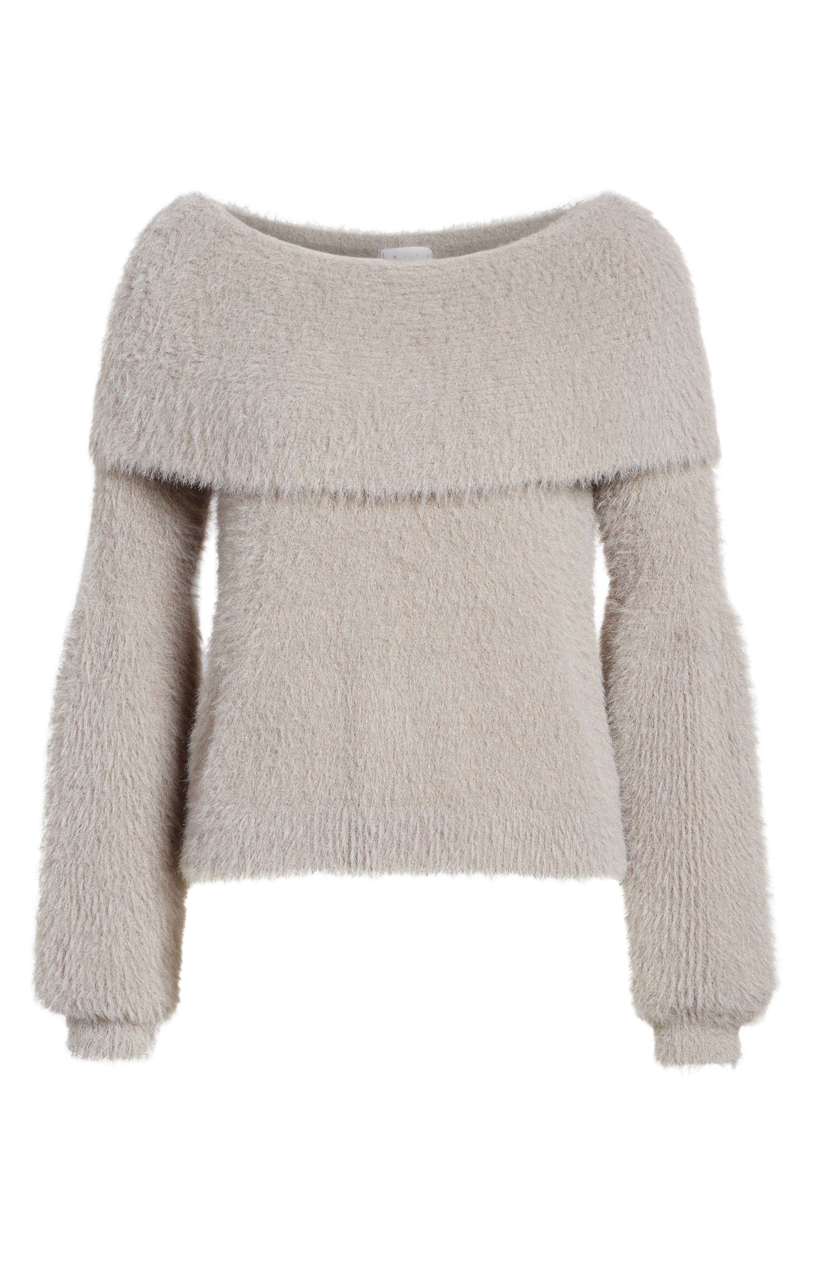 Off the Shoulder Sweater,                             Alternate thumbnail 6, color,