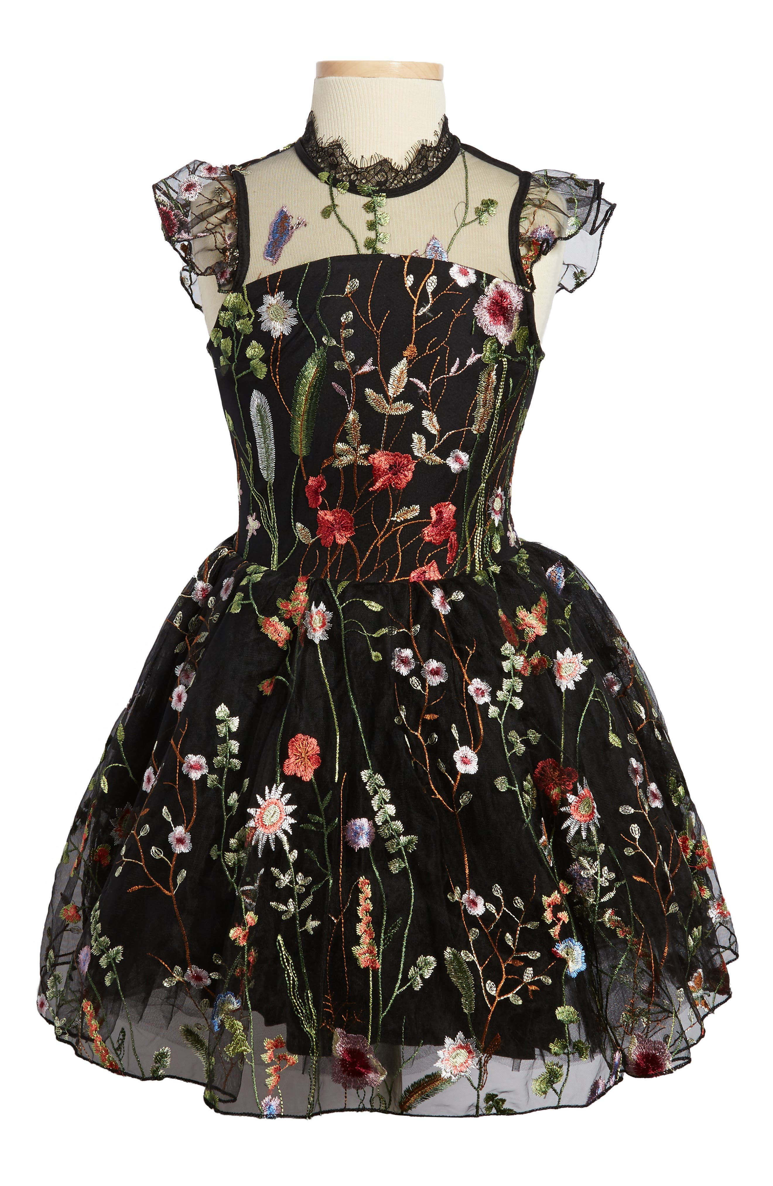 Charisse Embroidered Floral Dress,                             Main thumbnail 1, color,                             001