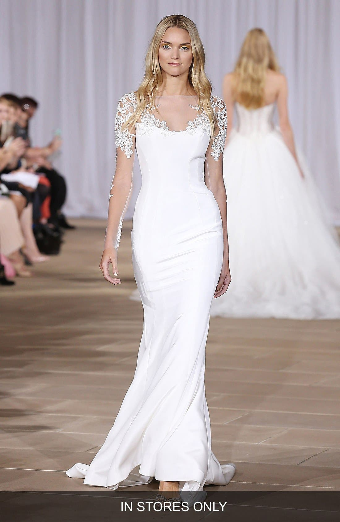 Twilight Illusion Neckline Silk Crepe Sheath Gown,                         Main,                         color, 900