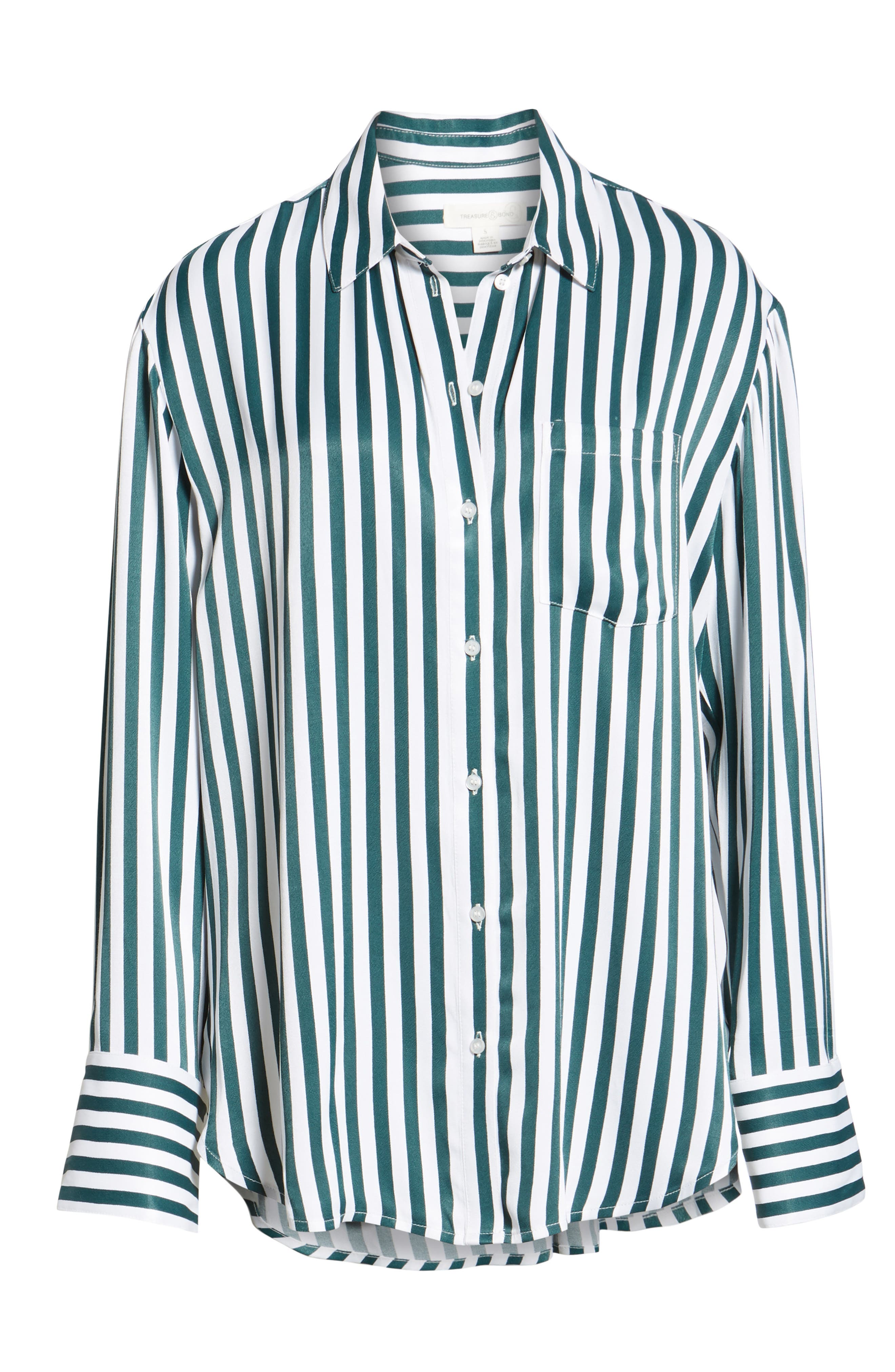 Striped Boyfriend Shirt,                             Alternate thumbnail 6, color,                             GREEN BUG WIDE STRIPE