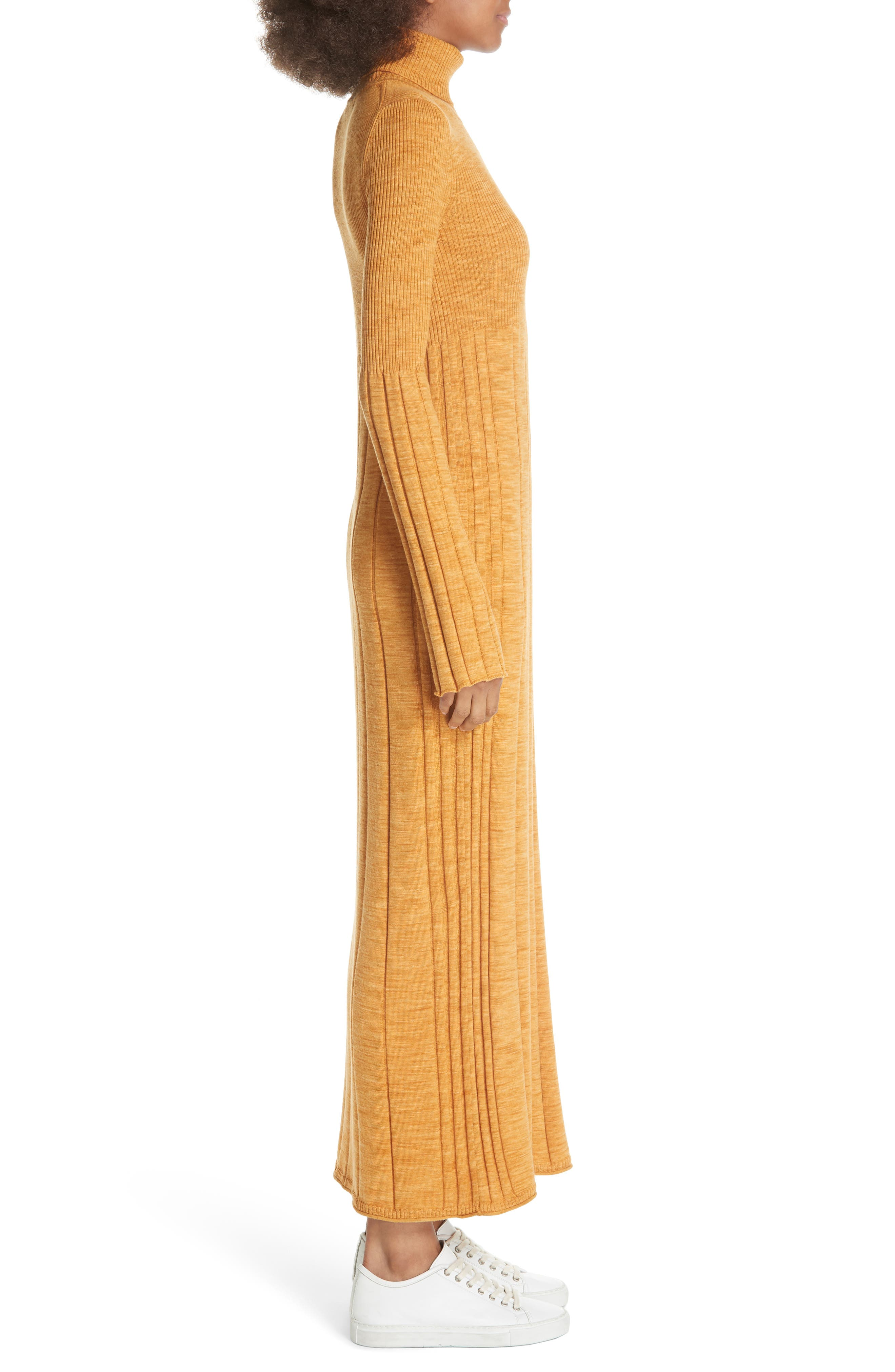 Clementine Ribbed Space Dye Wool Dress,                             Alternate thumbnail 3, color,                             700