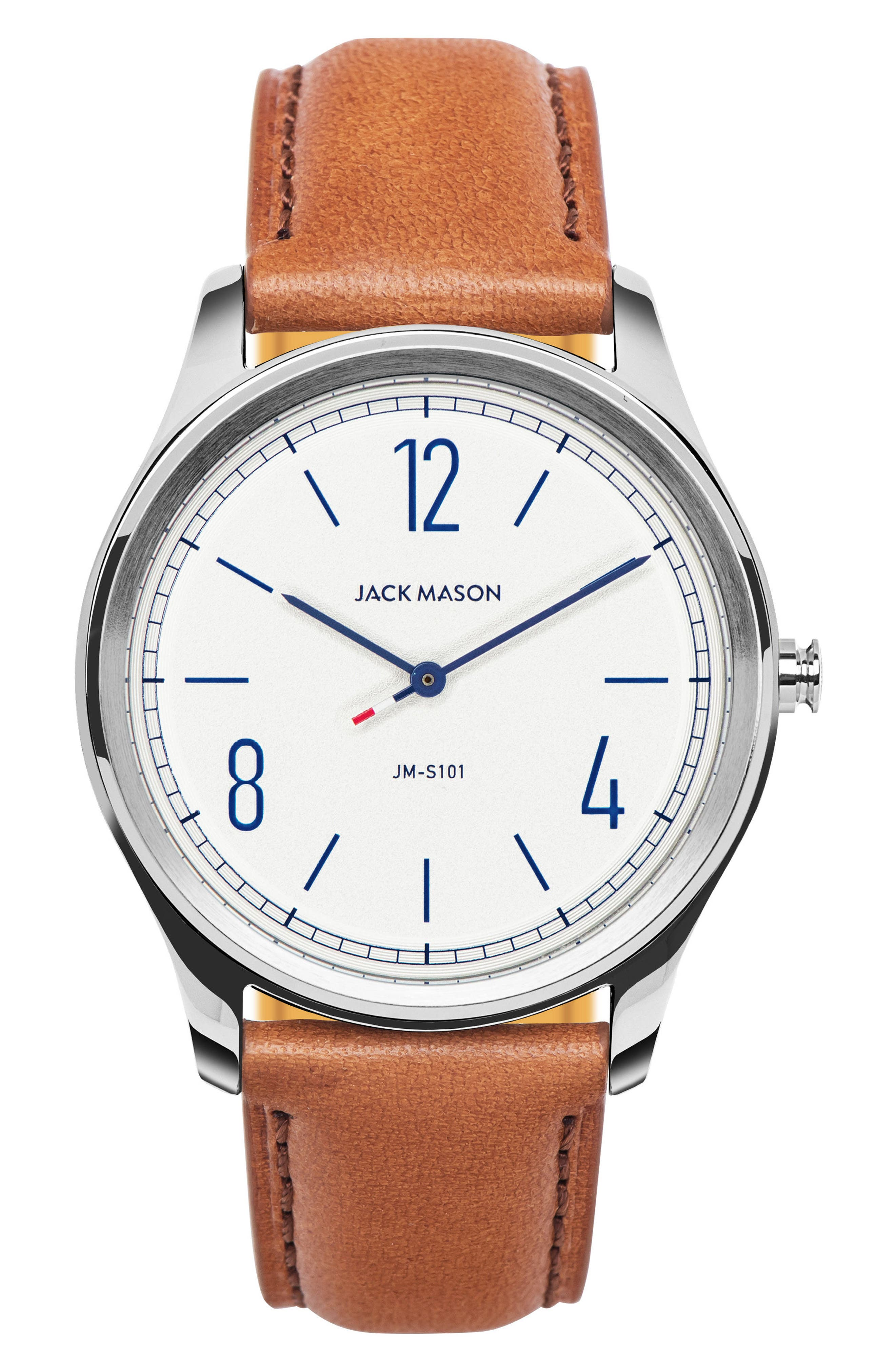 Slim Leather Strap Watch, 42mm,                         Main,                         color, 100