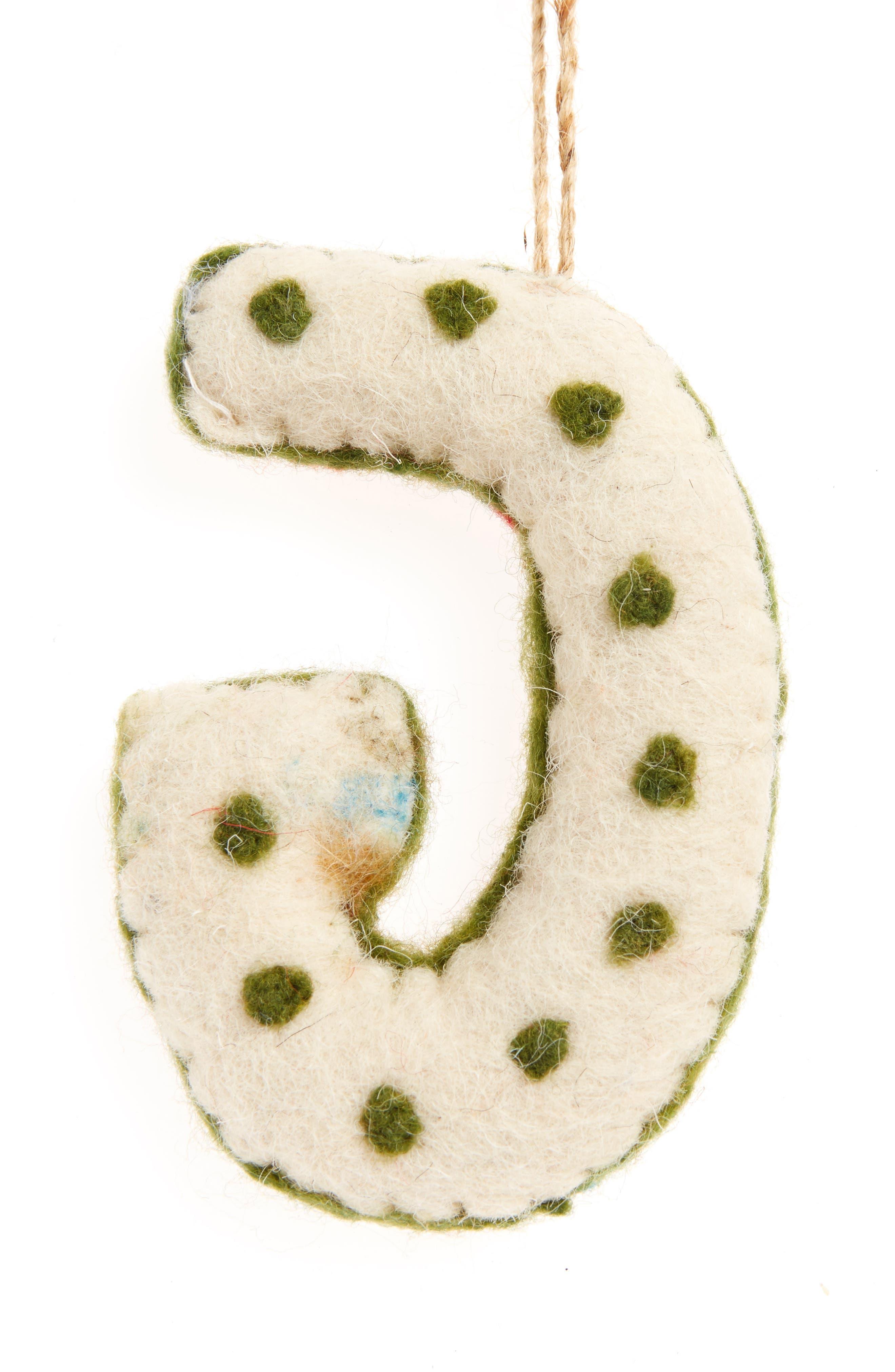 Global Folk Wool Monogram Ornament,                             Alternate thumbnail 29, color,