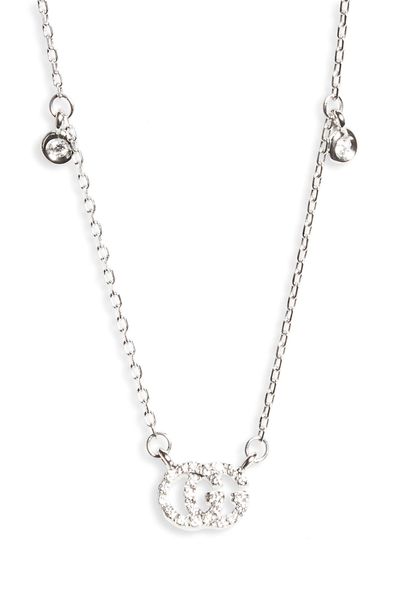 Double-G Diamond Pendant Necklace,                             Main thumbnail 1, color,                             WHITE GOLD