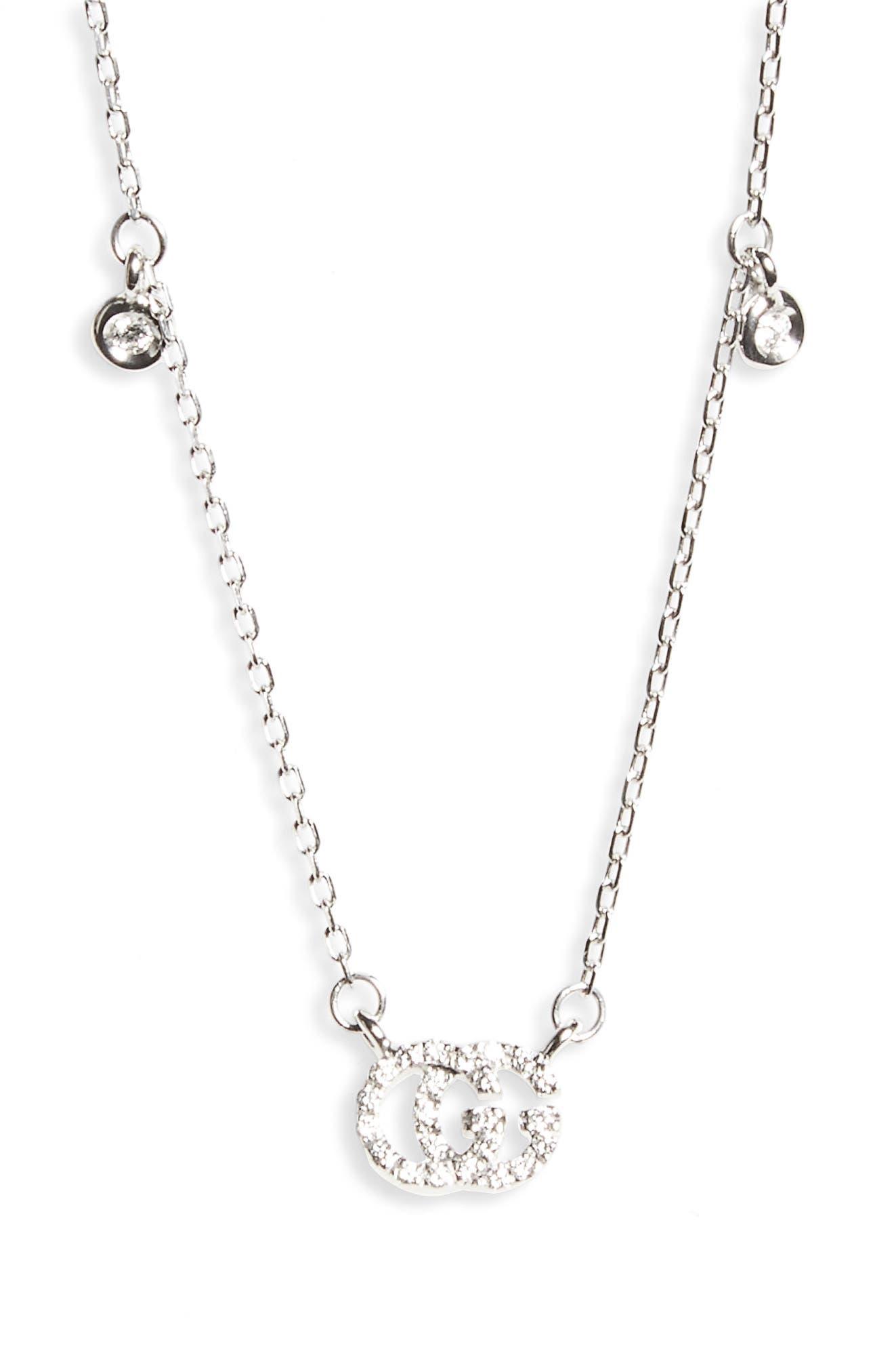 Double-G Diamond Pendant Necklace,                         Main,                         color, WHITE GOLD