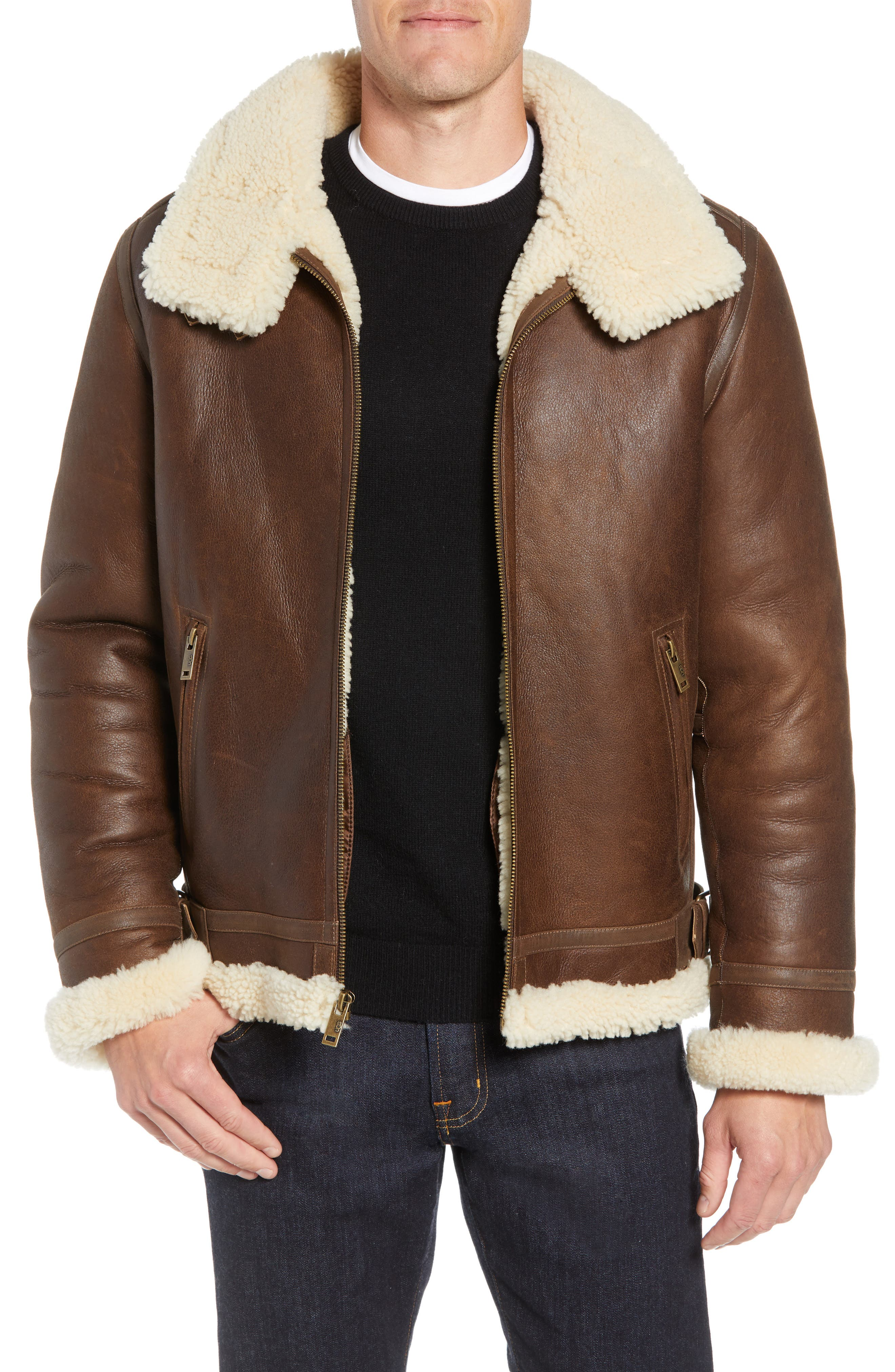 Auden Genuine Shearling Aviator Jacket,                             Main thumbnail 1, color,                             CHESTNUT