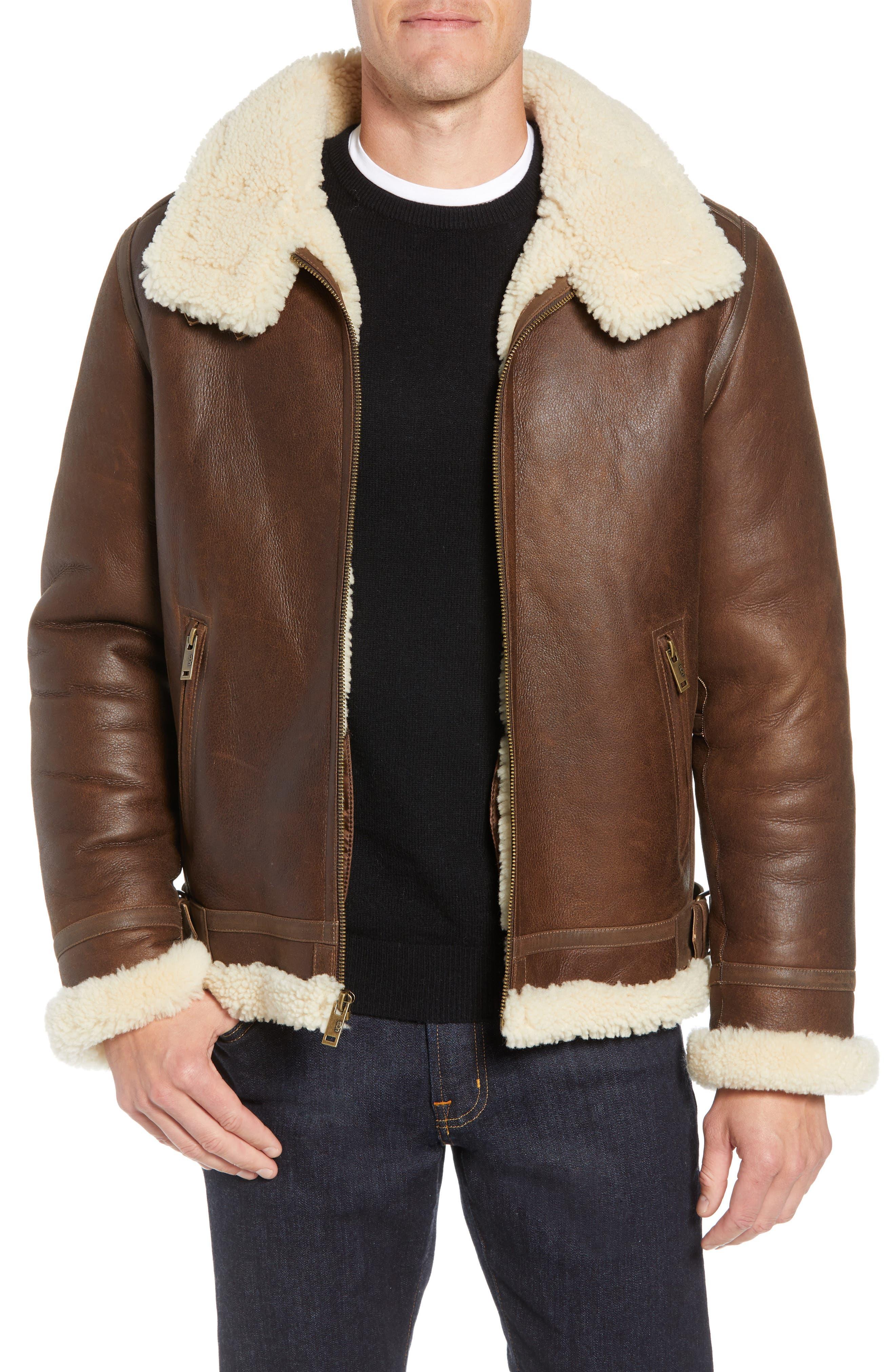 Auden Genuine Shearling Aviator Jacket,                         Main,                         color, CHESTNUT