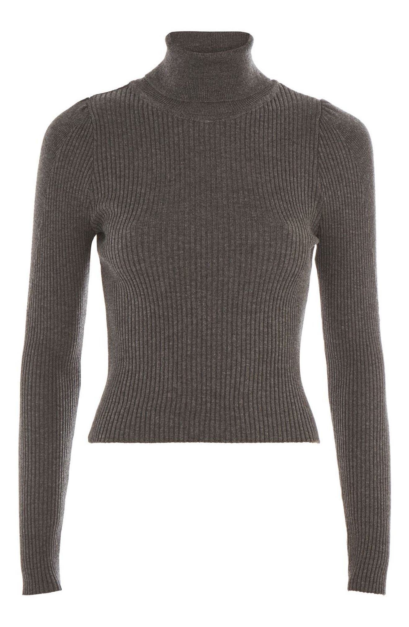 Puff Sleeve Ribbed Turtleneck,                             Alternate thumbnail 3, color,                             021