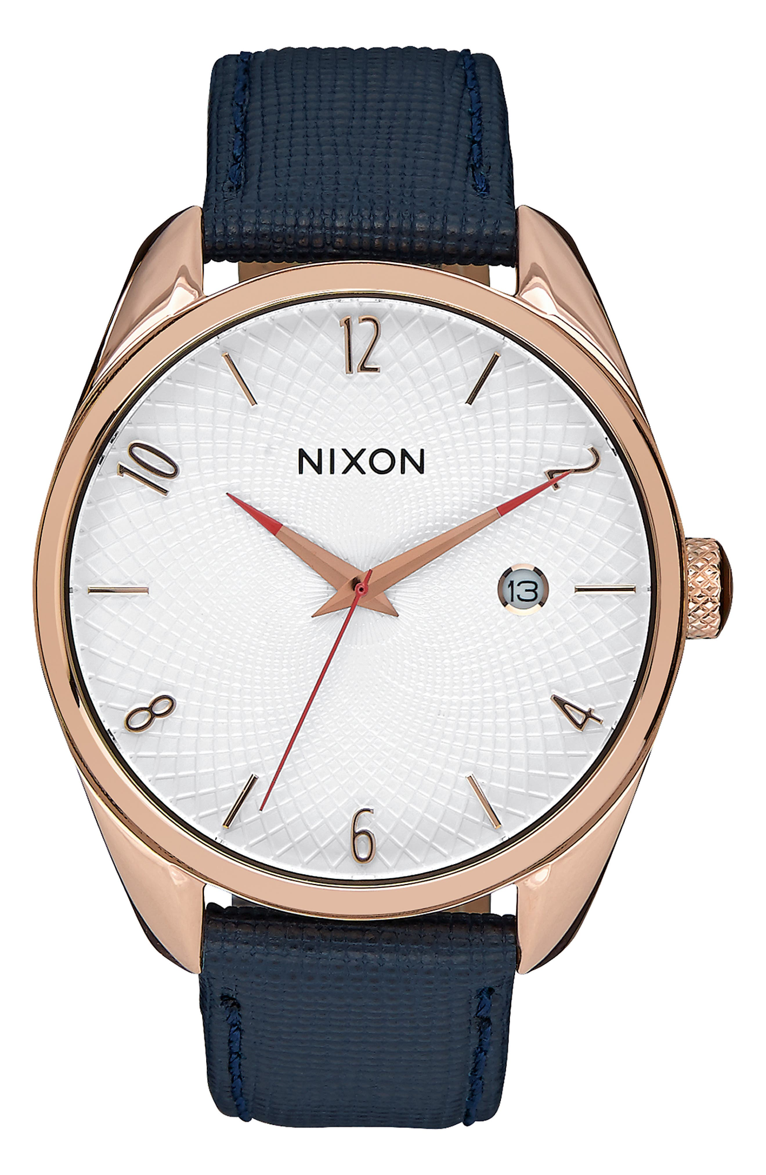 'Bullet' Guilloche Dial Oval Leather Strap Watch, 38mm,                             Main thumbnail 1, color,                             NAVY/ ROSE GOLD