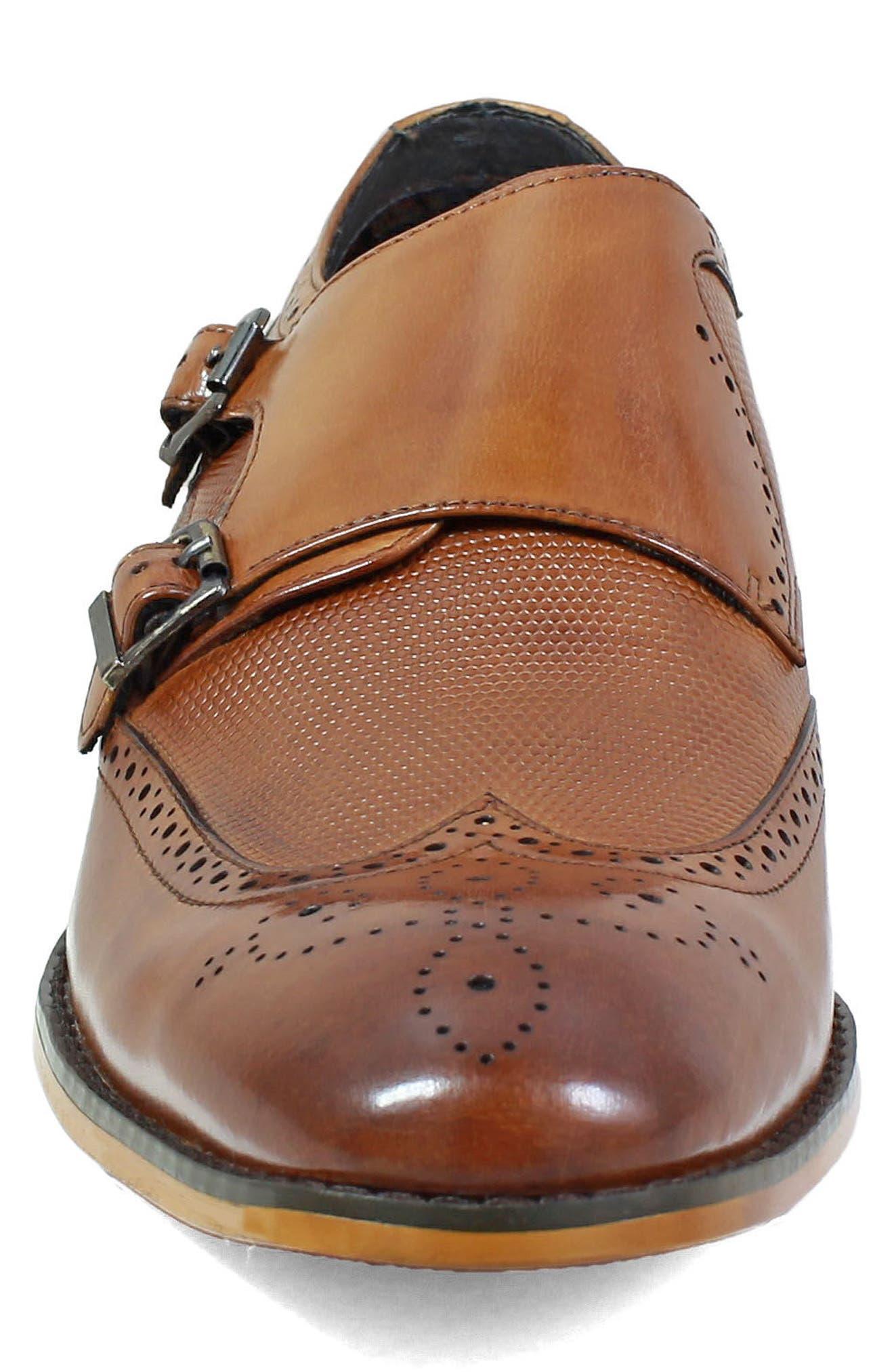 Lavine Wingtip Monk Shoe,                             Alternate thumbnail 4, color,                             SADDLE TAN LEATHER