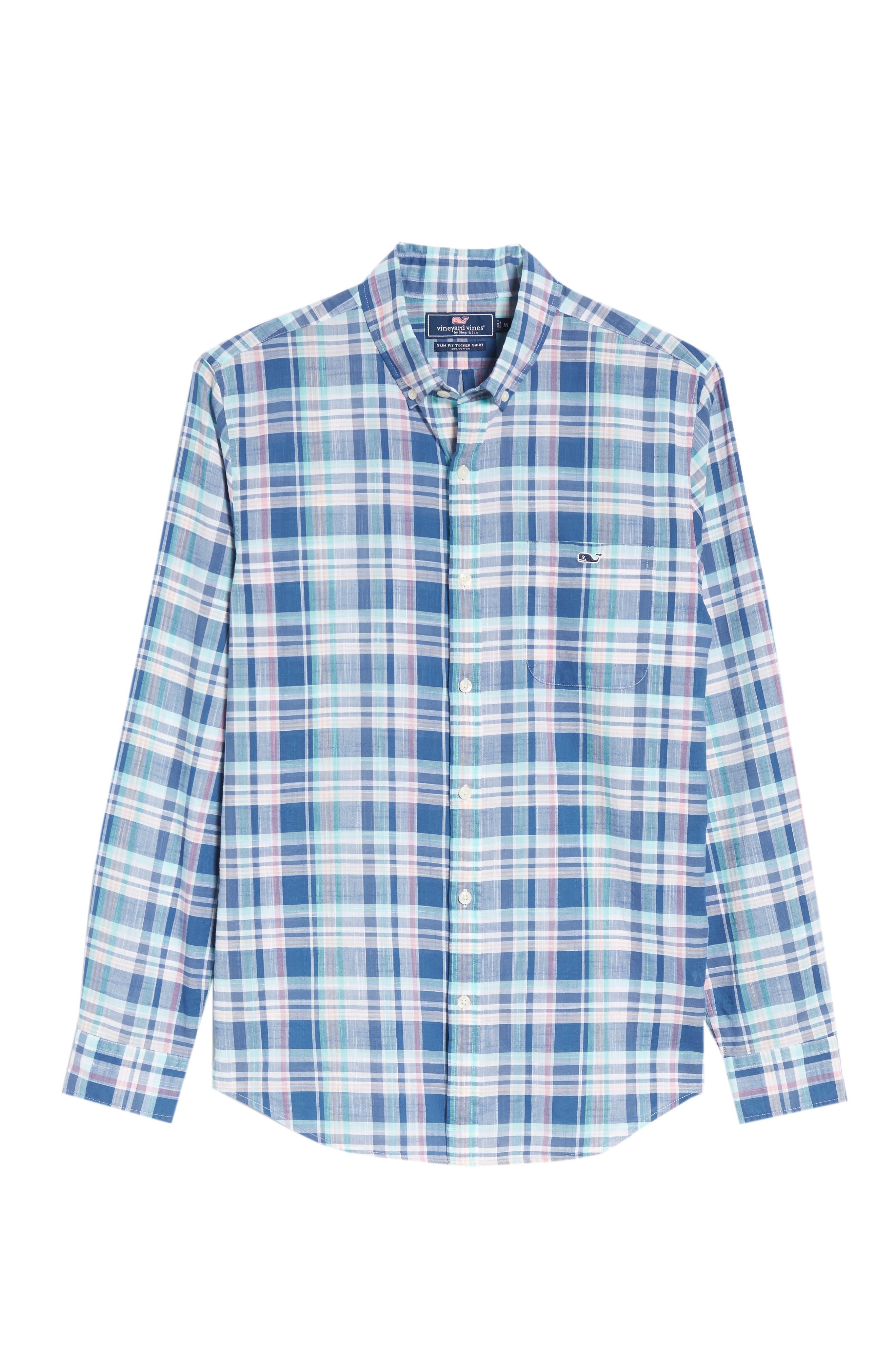 Primrose Plaid Slim Fit Tucker Sport Shirt,                             Alternate thumbnail 6, color,                             FLAG BLUE