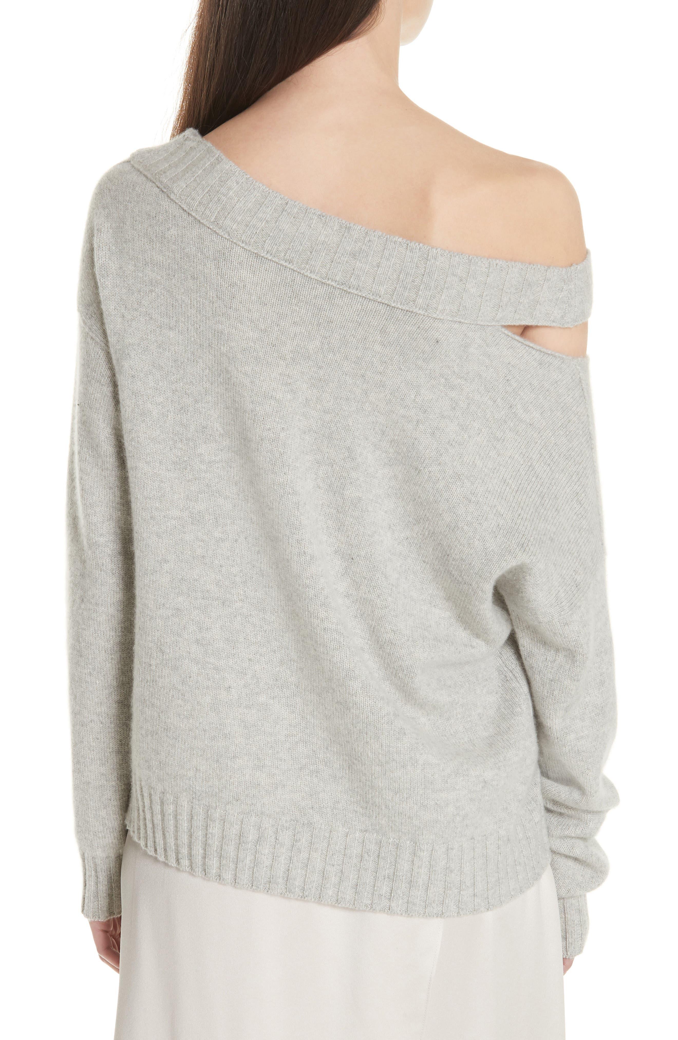 One Shoulder Slit Pullover Sweater,                             Alternate thumbnail 2, color,                             LIGHT HEATHER GREY