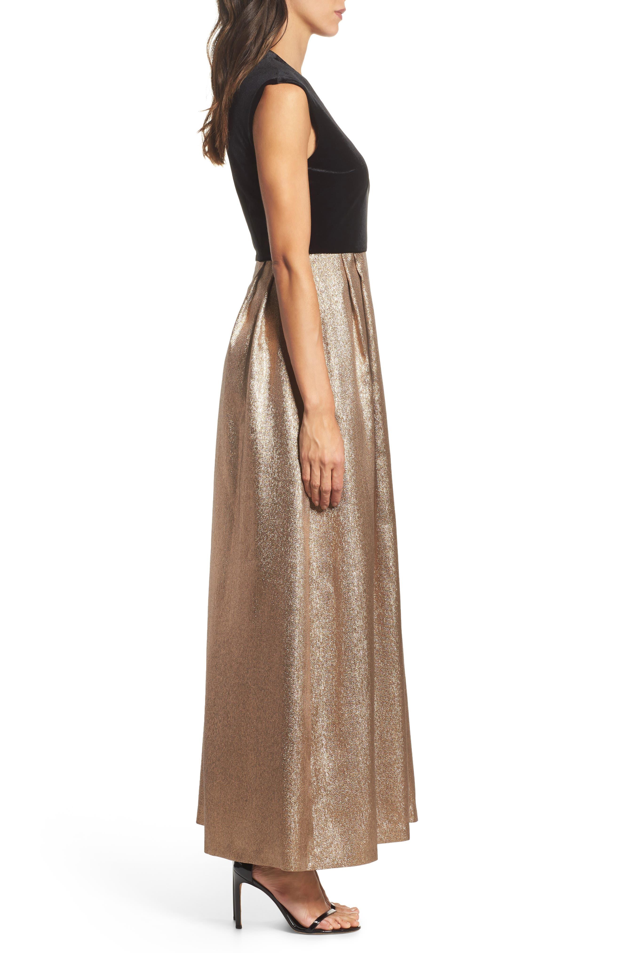 Velvet & Glitter Jacquard Gown,                             Alternate thumbnail 3, color,                             008