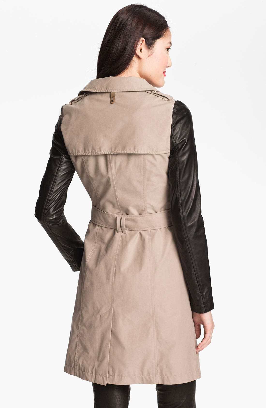 Leather Sleeve Trench Coat,                             Alternate thumbnail 2, color,                             200