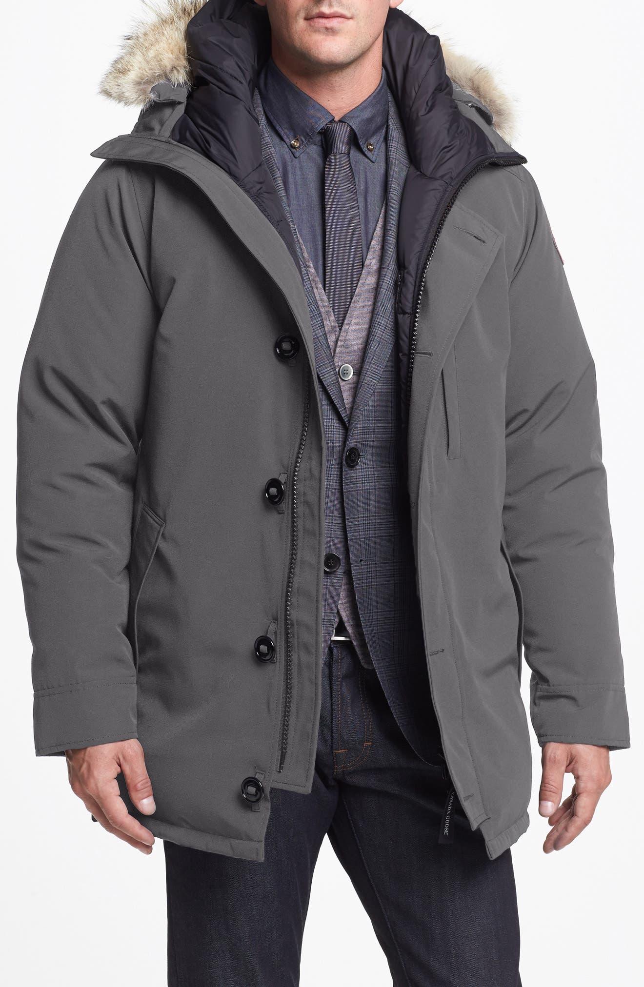 'Chateau' Slim Fit Genuine Coyote Fur Trim Jacket,                             Alternate thumbnail 4, color,                             021
