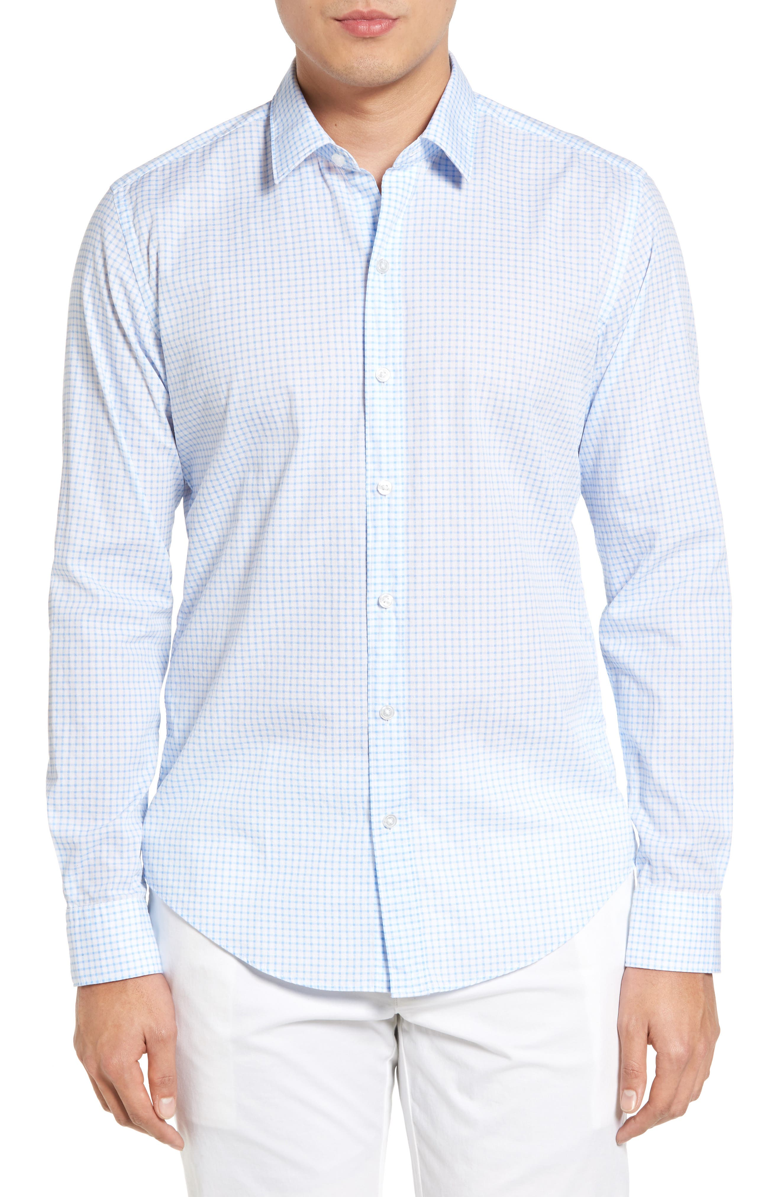Robbie Trim Fit Check Sport Shirt,                         Main,                         color, 100