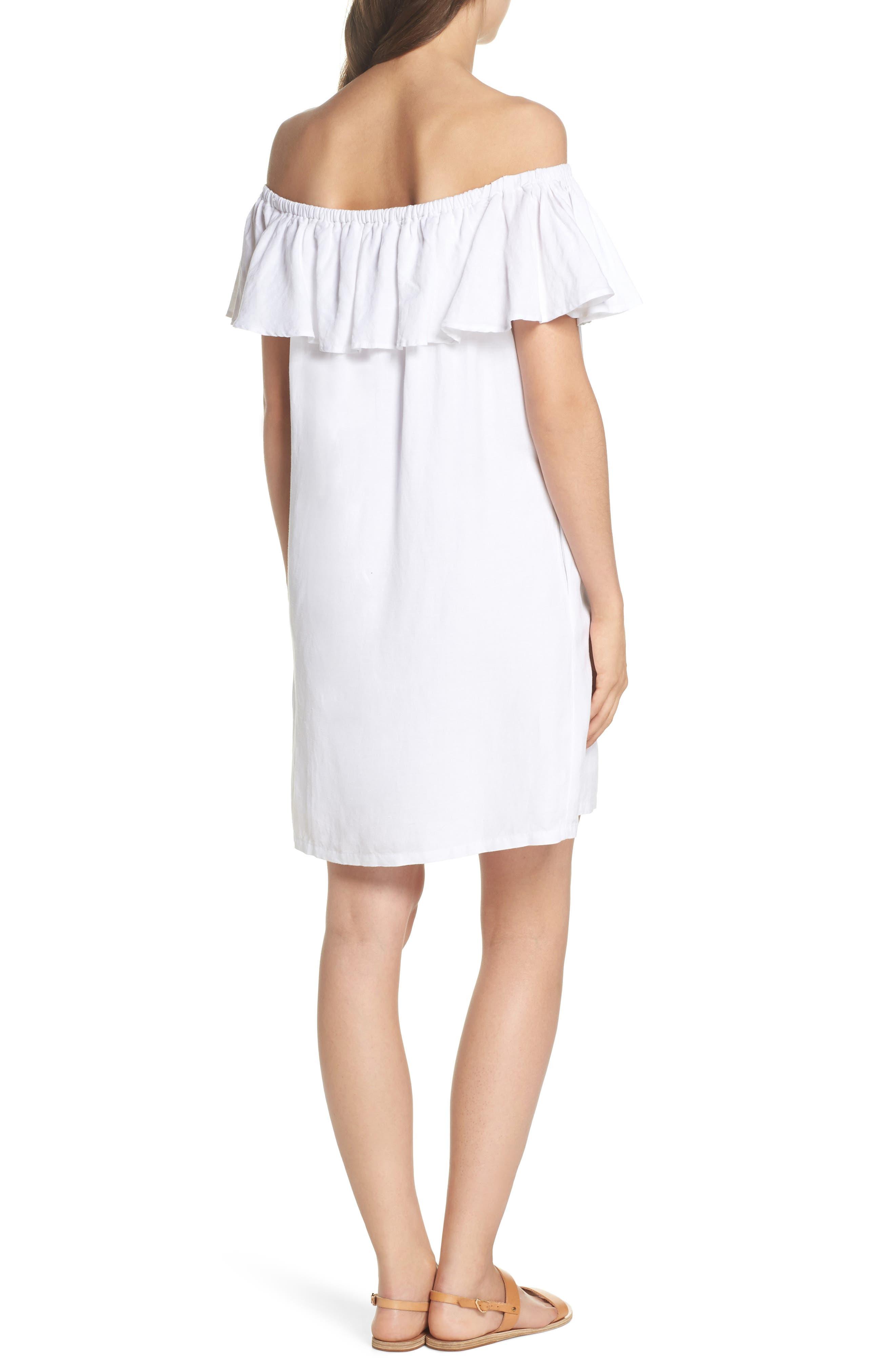 Off the Shoulder Cover-Up Dress,                             Alternate thumbnail 2, color,                             100
