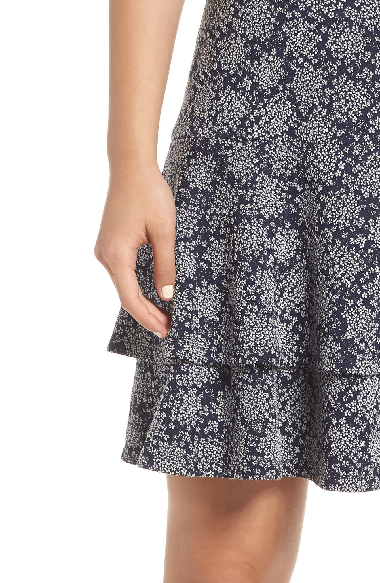 Tiered Fit & Flare Dress,                             Alternate thumbnail 4, color,                             TRUE NAVY/ WHITE