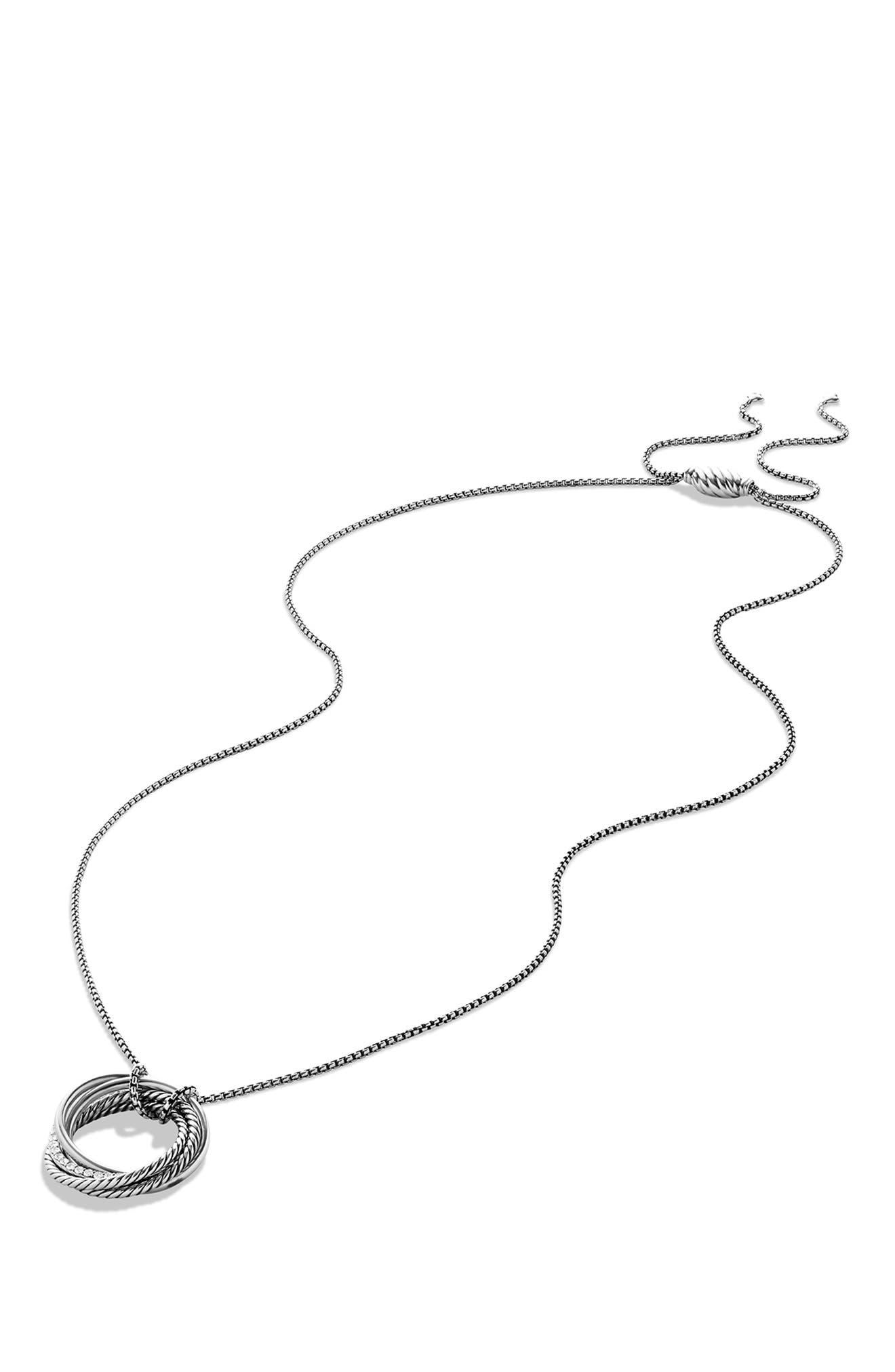 'Crossover' Pendant Necklace with Diamonds,                             Alternate thumbnail 5, color,                             DIAMOND