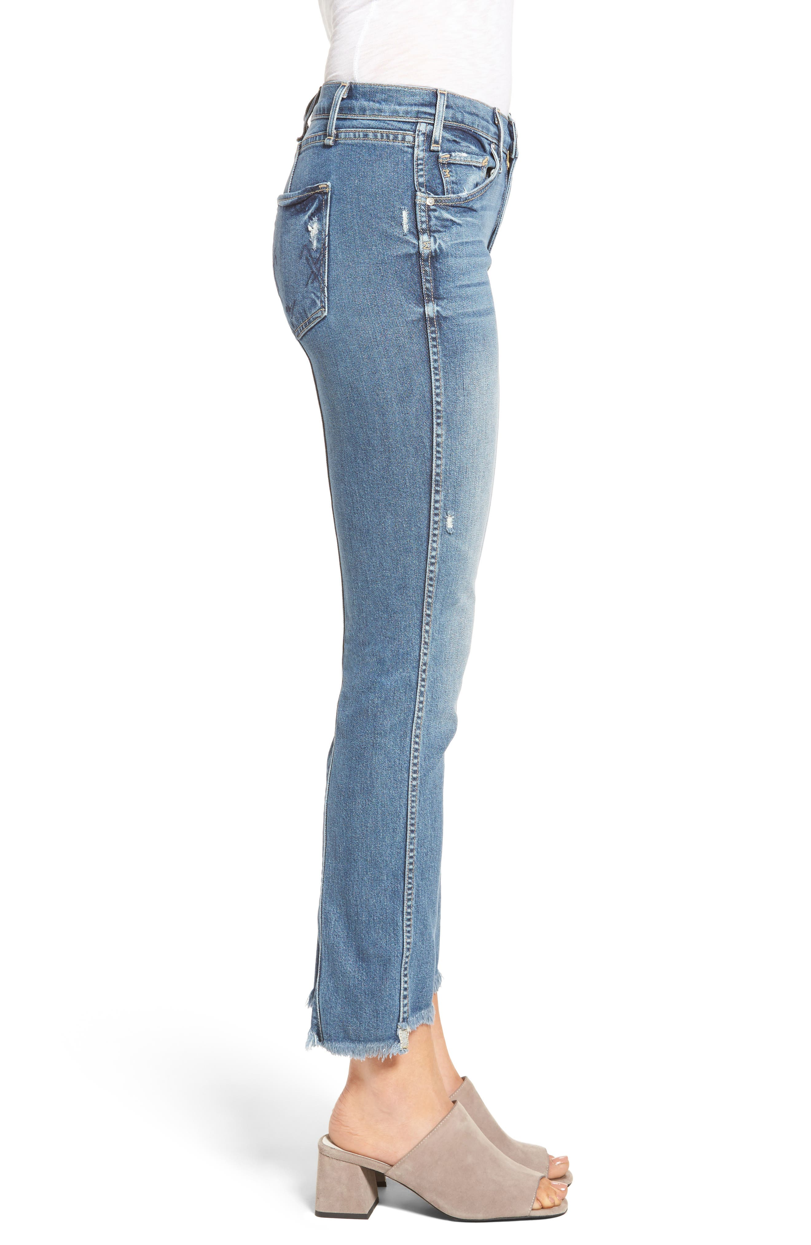 Lido Frayed Crop Straight Leg Jeans,                             Alternate thumbnail 3, color,                             461