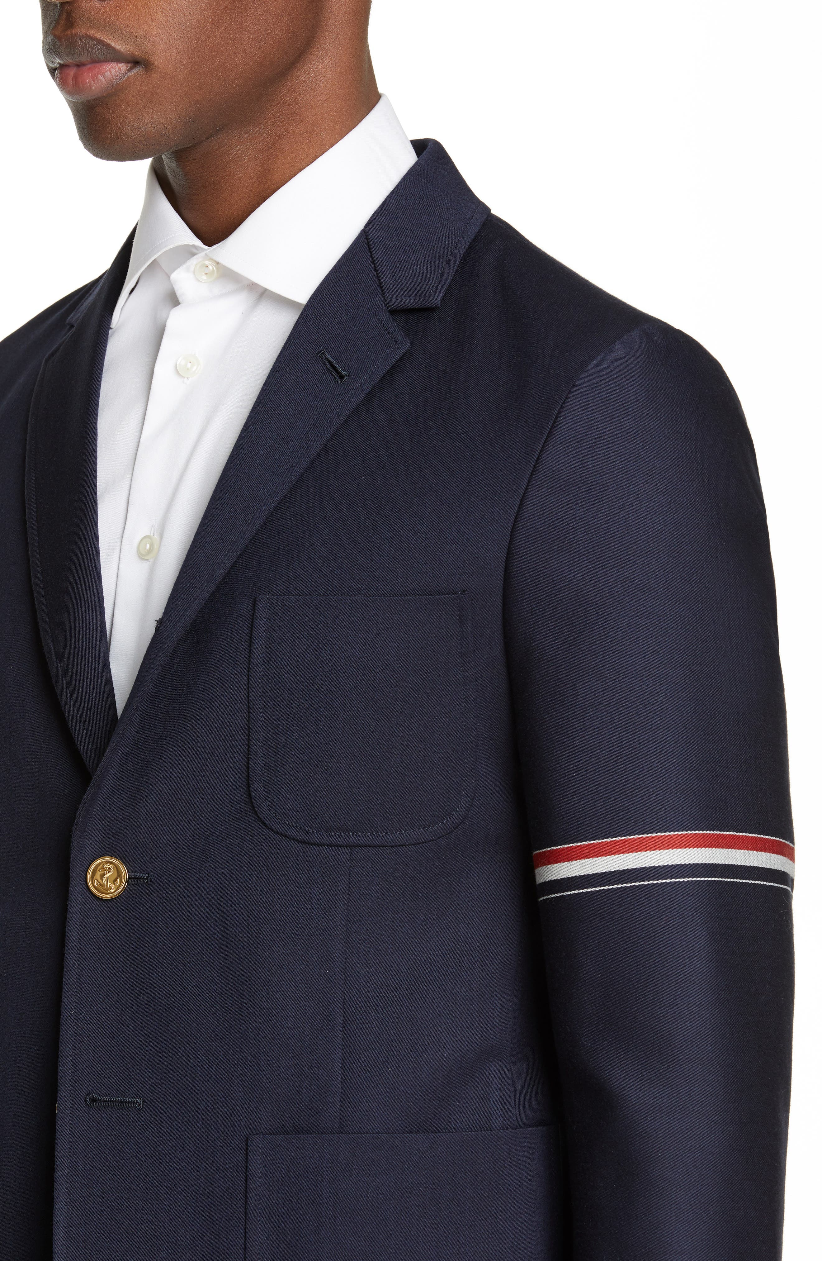 Unconstructed Wool Blend Sport Coat,                             Alternate thumbnail 4, color,                             NAVY