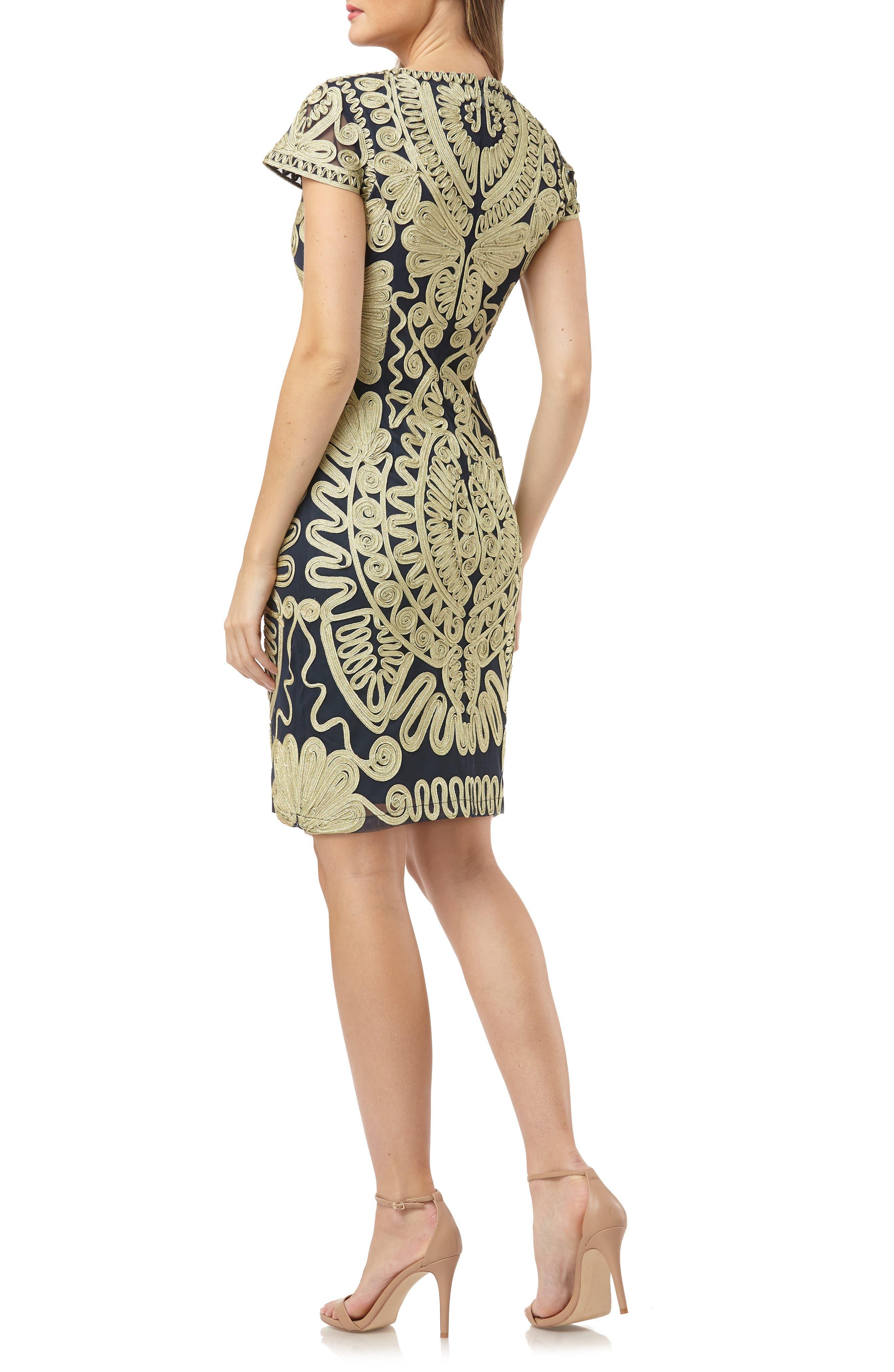 Soutache Dress,                             Alternate thumbnail 2, color,                             GOLD/ NAVY