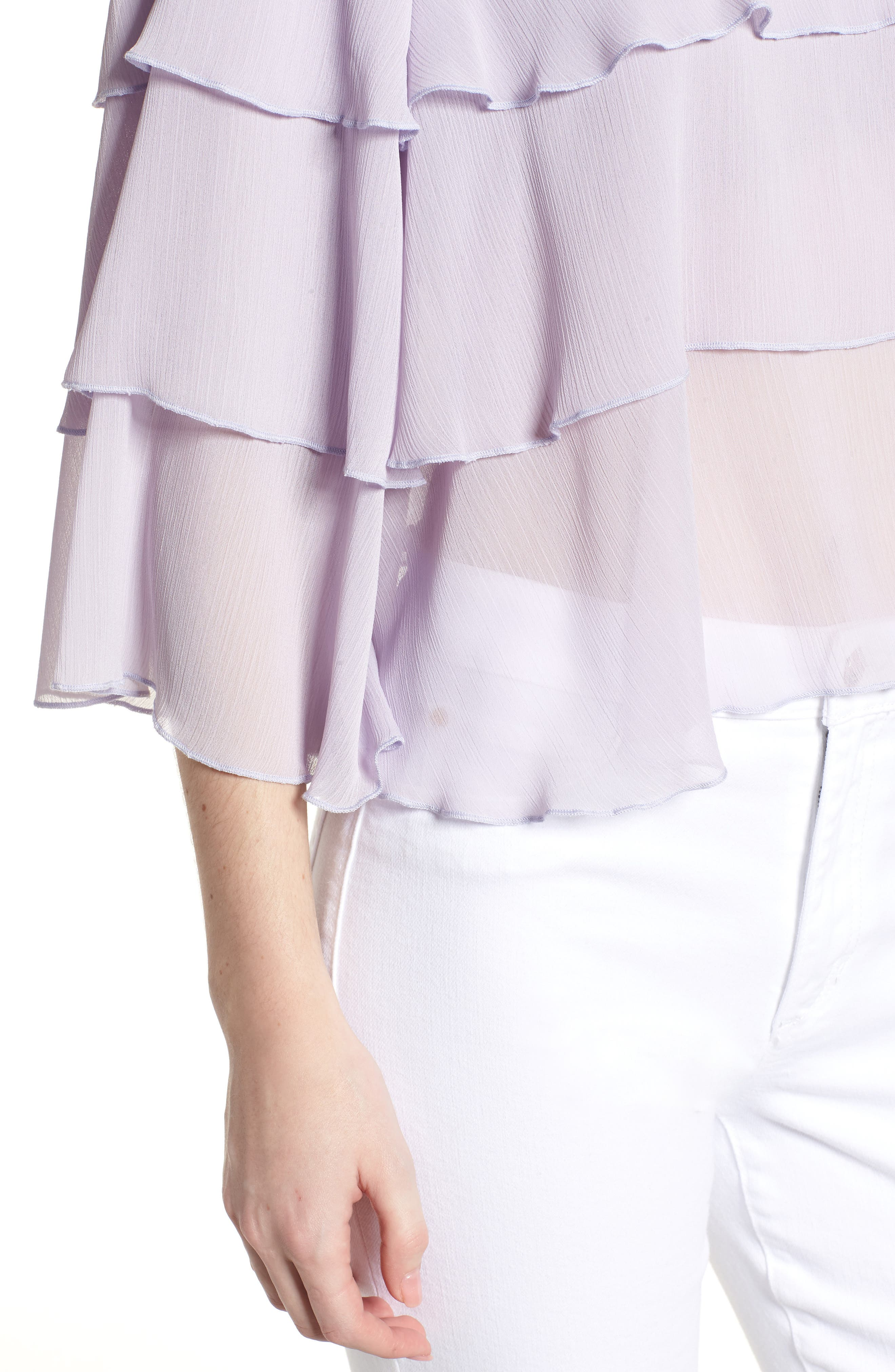 Bishop + Young Tiered Ruffle Blouse,                             Alternate thumbnail 4, color,                             LILAC