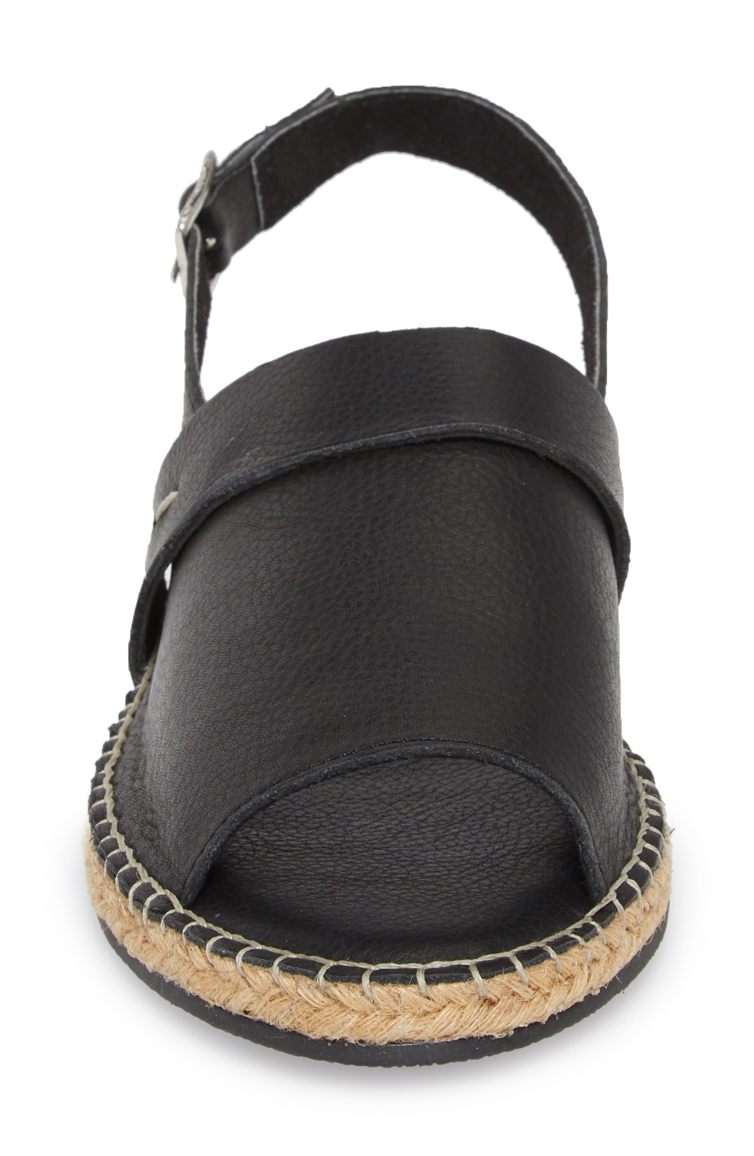 Turn Key Espadrille Sandal,                             Alternate thumbnail 4, color,                             BLACK LEATHER