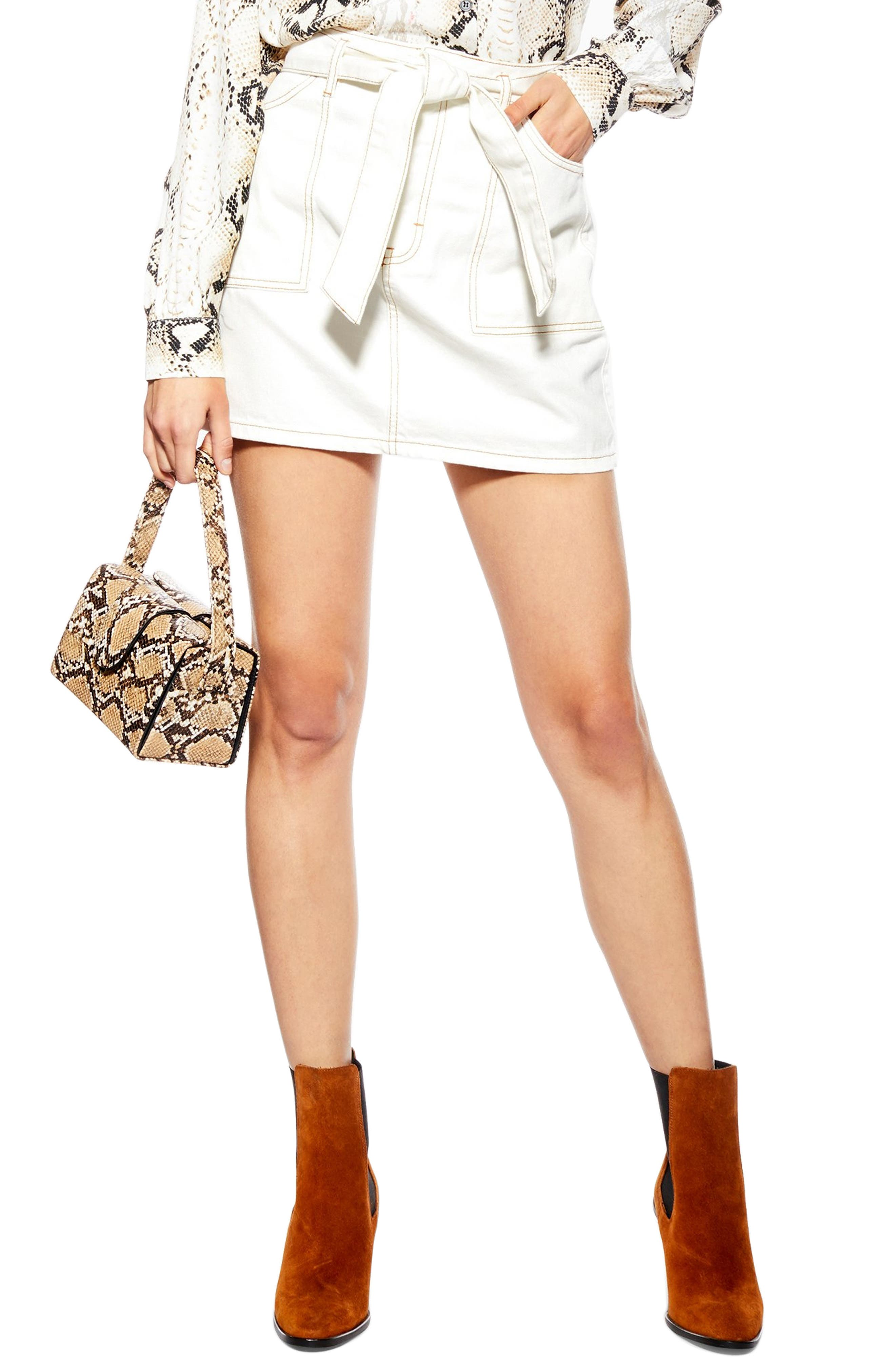 Topshop Belted Utility Skirt, US (fits like 0-2) - White