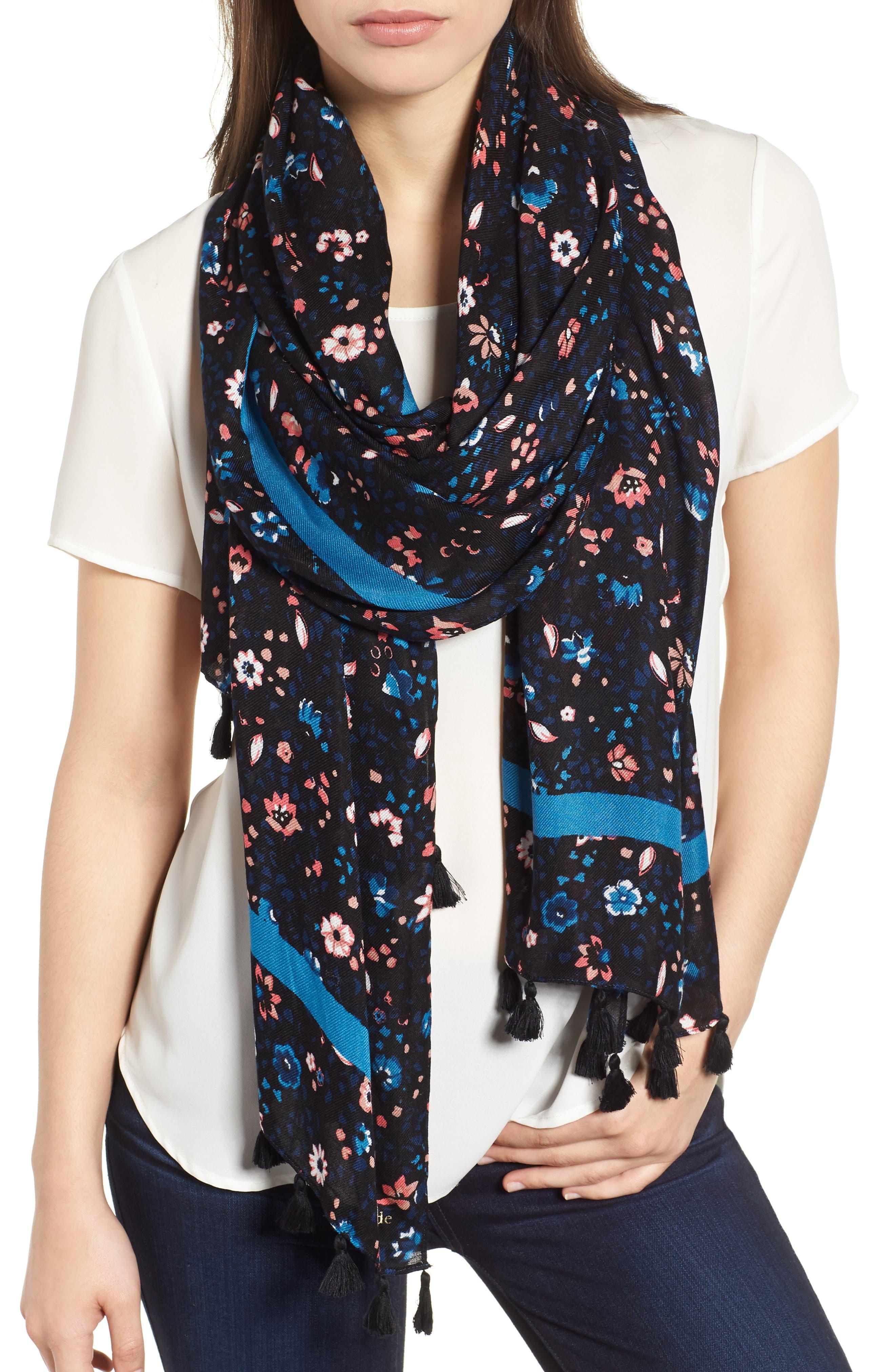 ditsy vine scarf,                             Main thumbnail 1, color,                             BLACK