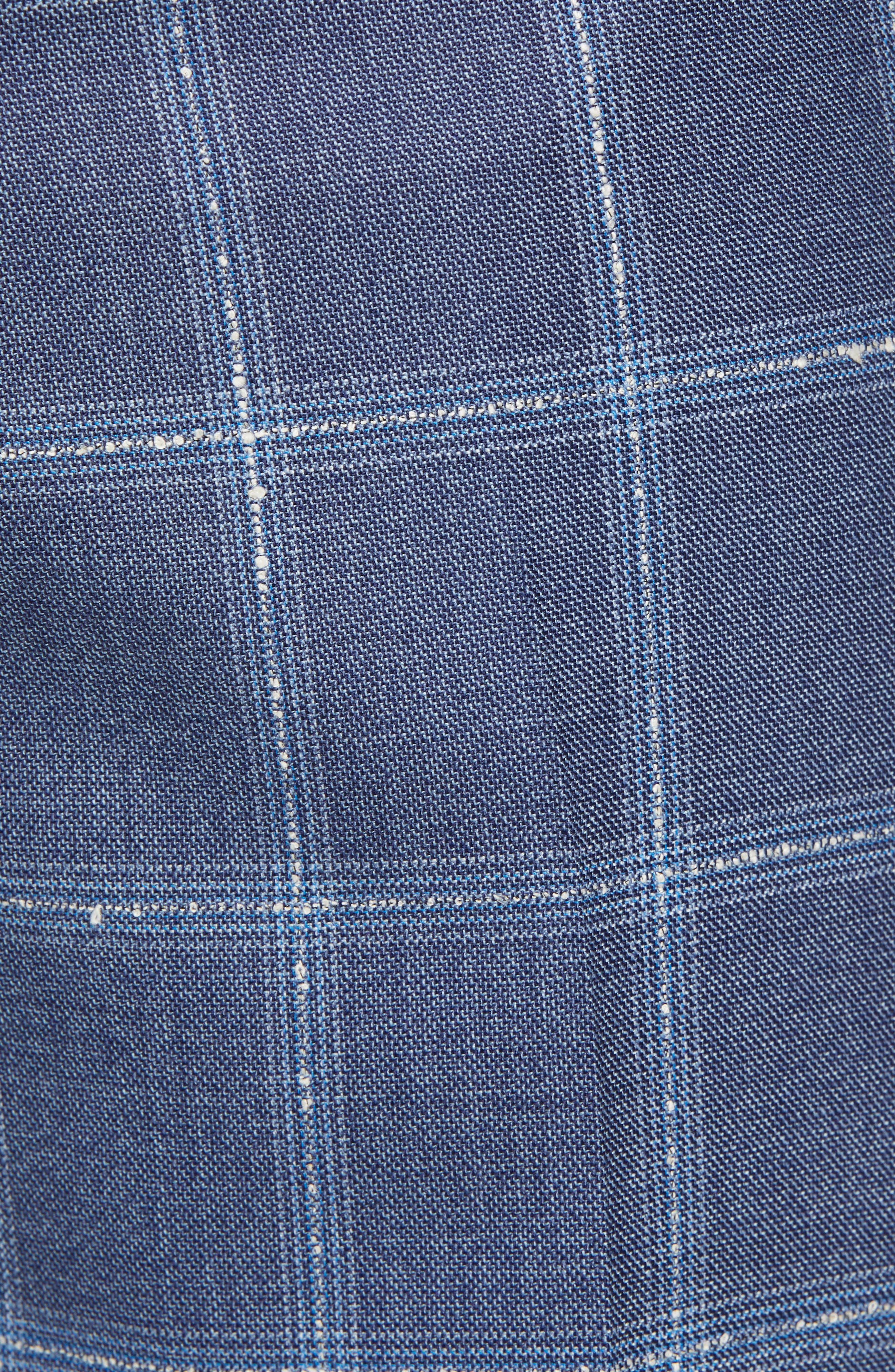 Manufacturing Flat Front Plaid Wool Trousers,                             Alternate thumbnail 5, color,                             NAVY