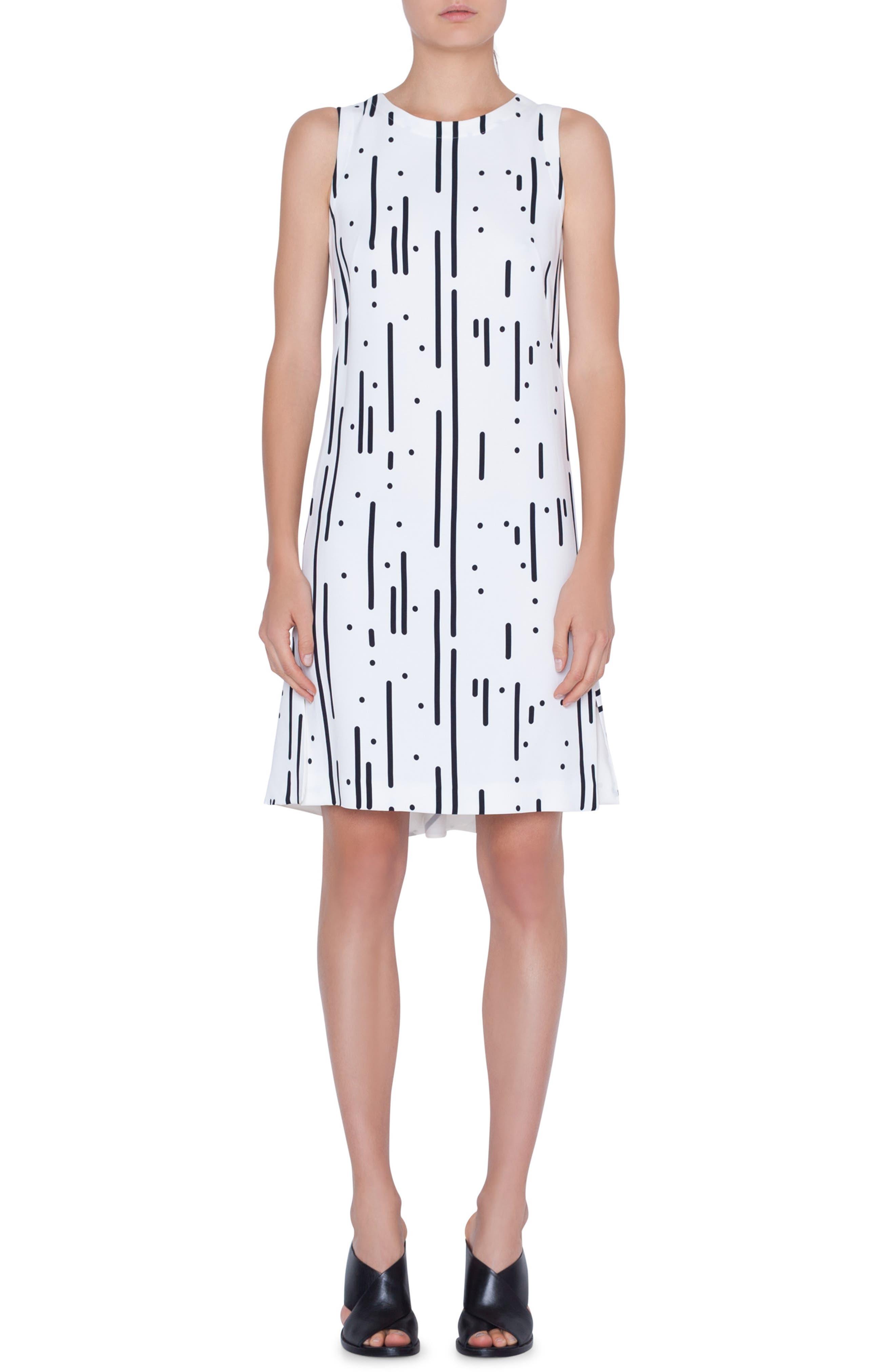 Akris Punto Lamiera Print Shift Dress, White