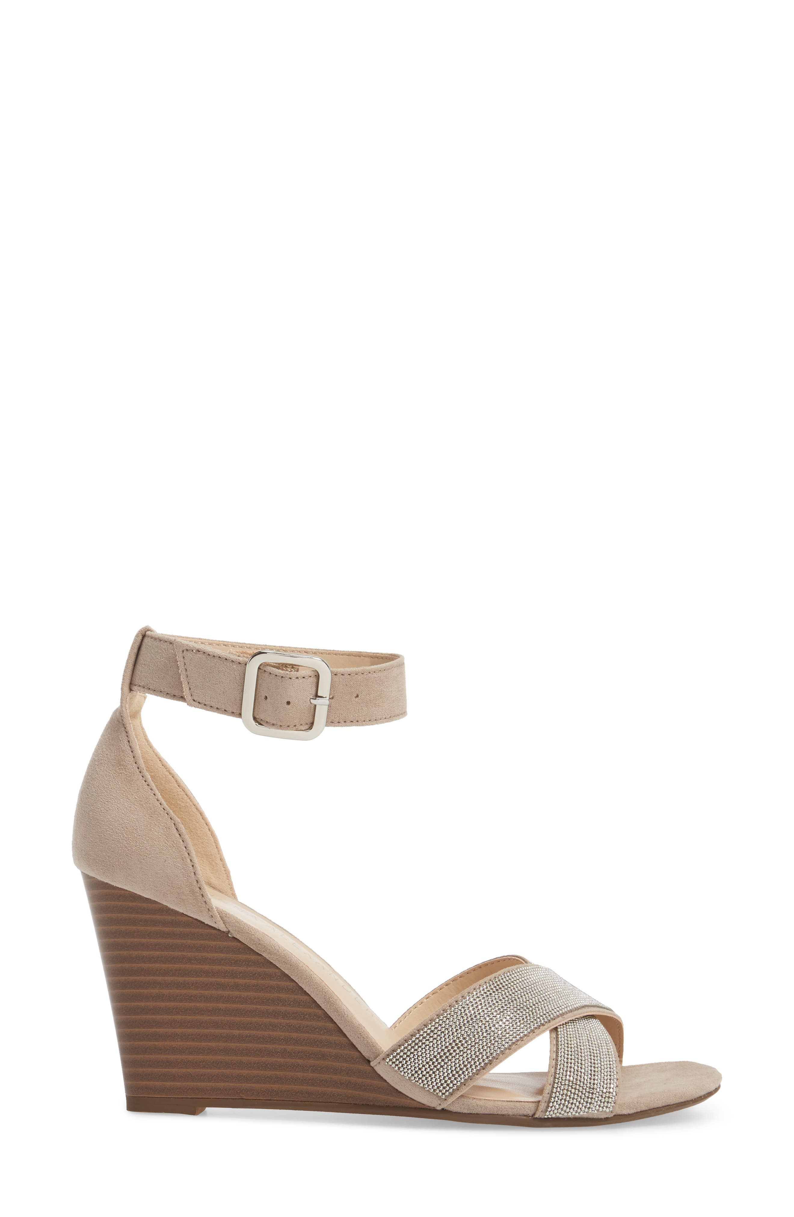 Zorra Wedge Sandal,                             Alternate thumbnail 3, color,                             TAUPE SUEDE
