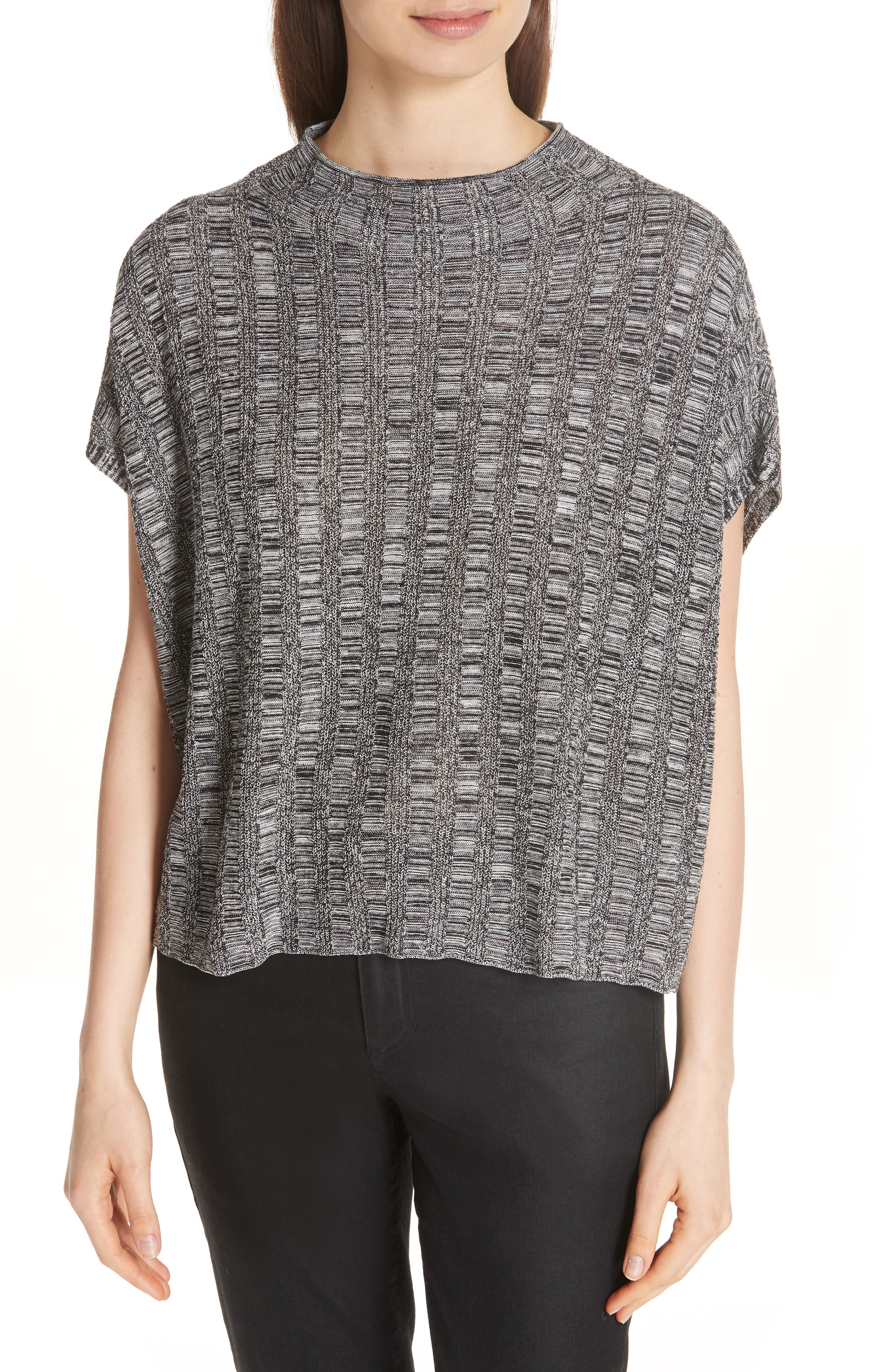 Silk & Organic Linen Sweater,                         Main,                         color, 001
