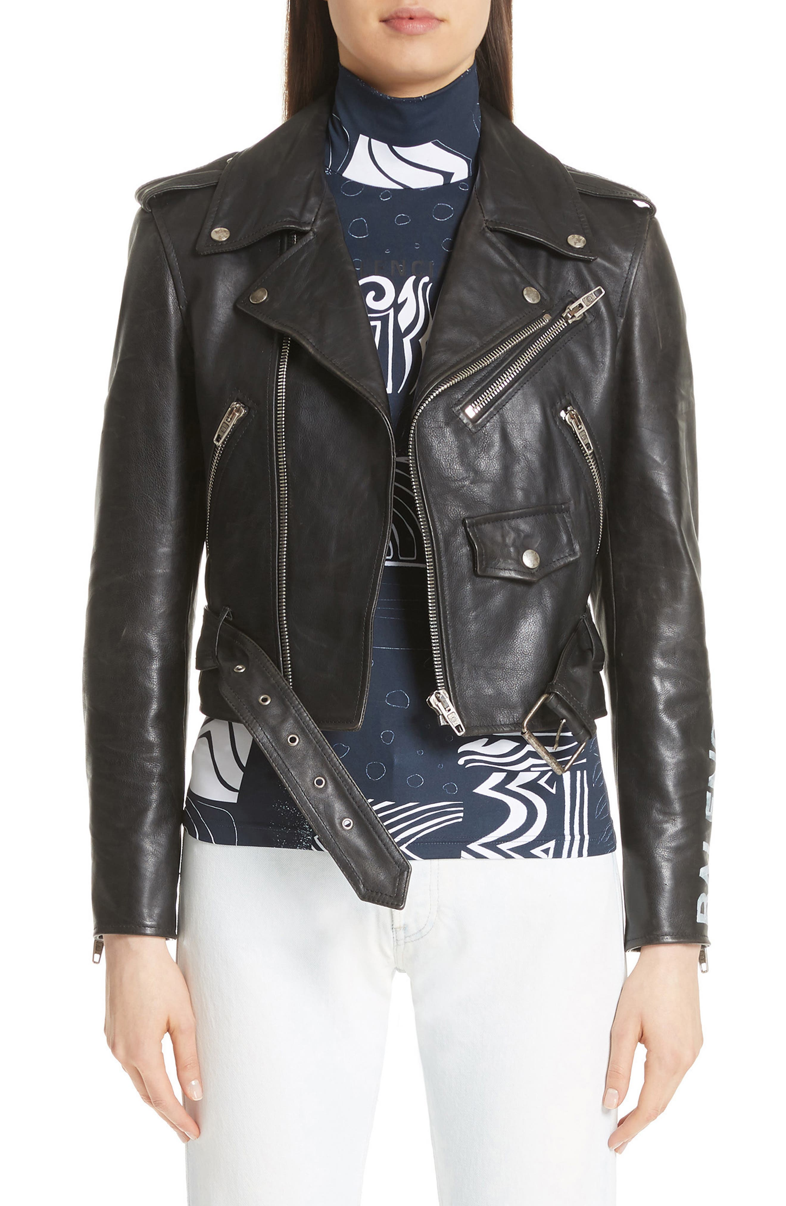 Logo Sleeve Leather Moto Jacket,                         Main,                         color, BLACK