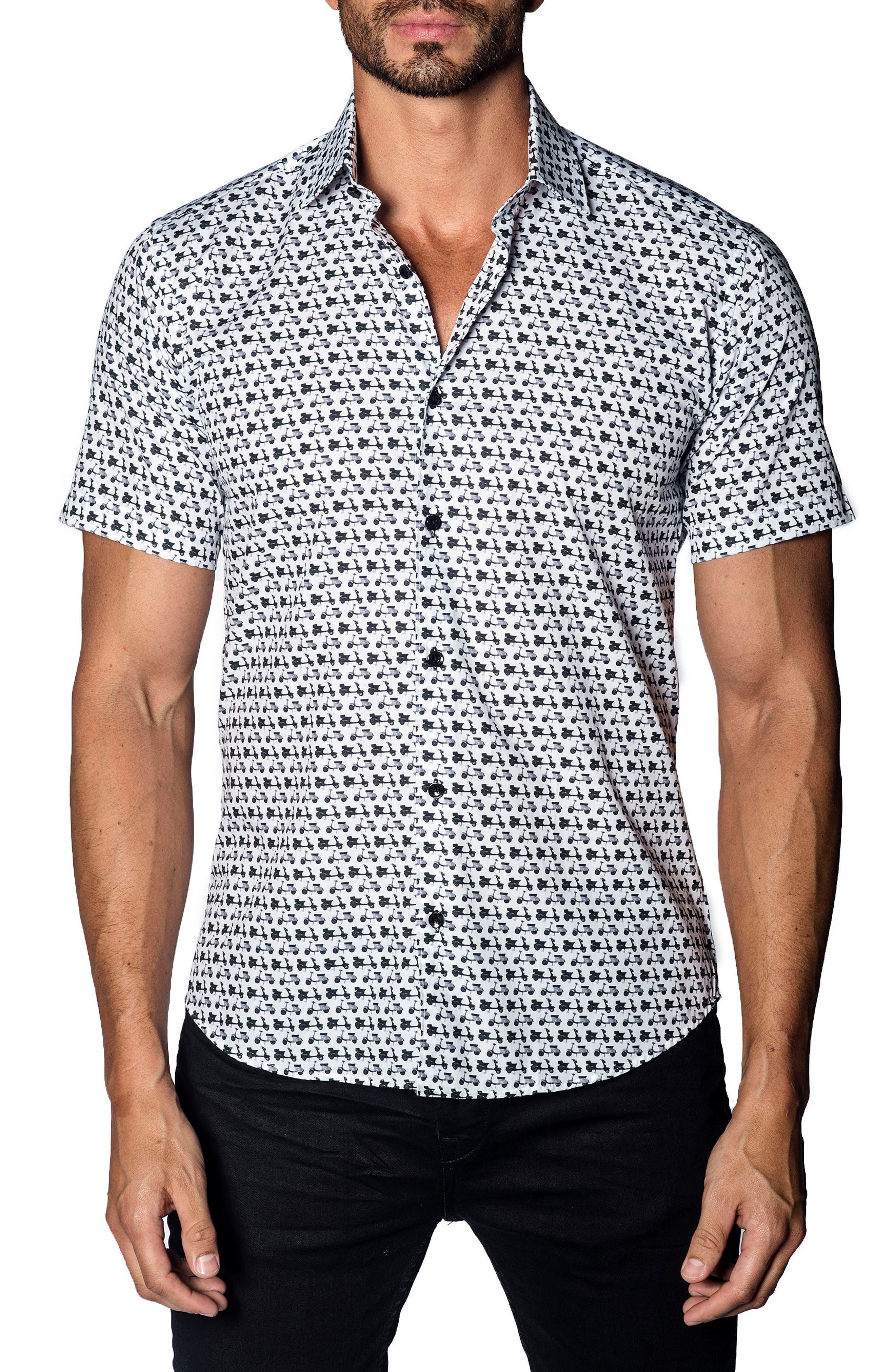 Trim Fit Scooter Print Sport Shirt,                         Main,                         color, 100