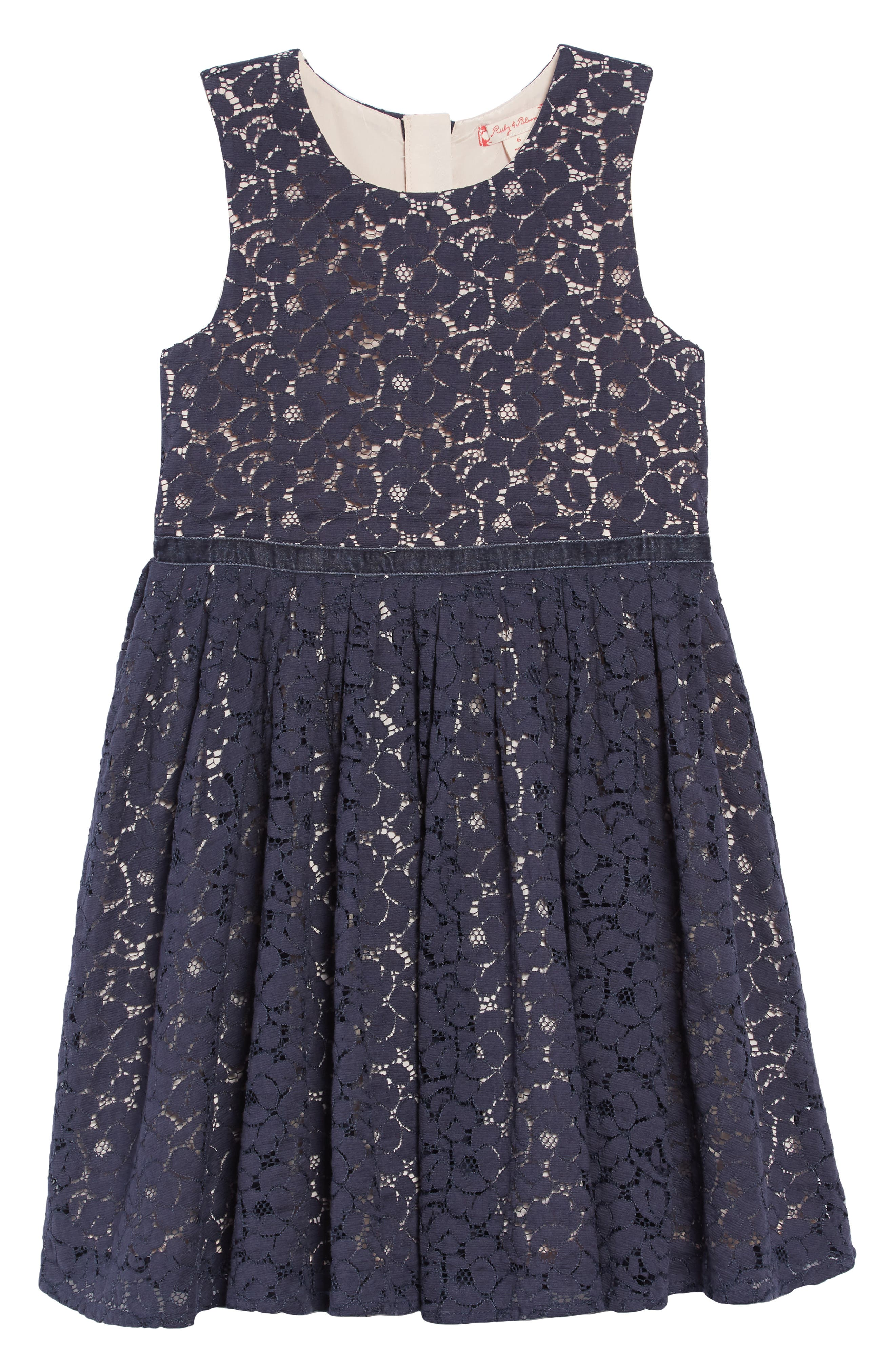 Pretty Lace Dress,                         Main,                         color, NAVY CHARCOAL- PINK