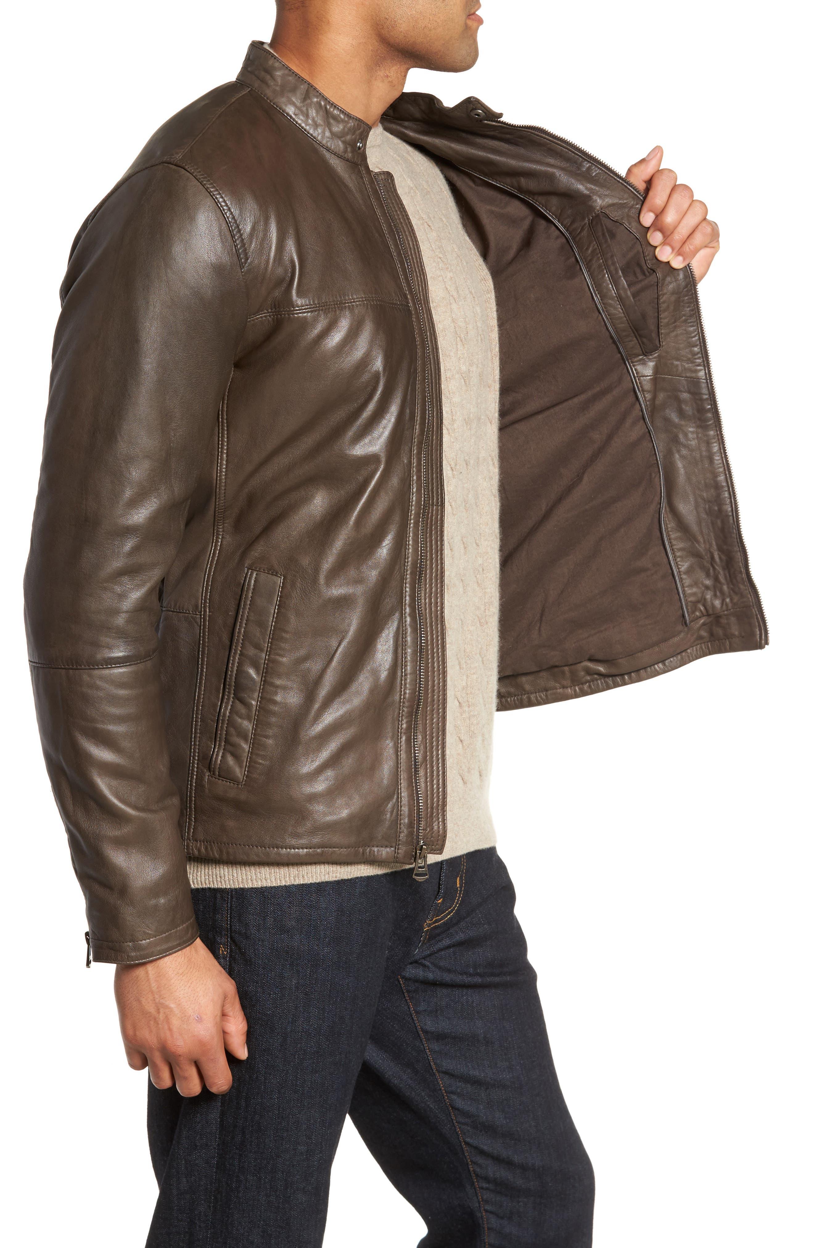Washed Lamb Leather Moto Jacket,                             Alternate thumbnail 6, color,